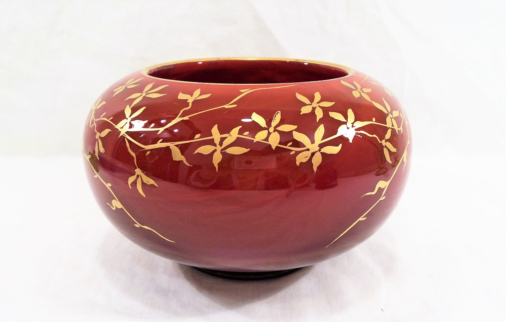 Vintage Molded Red Art Glass Bowl with Gold Accents