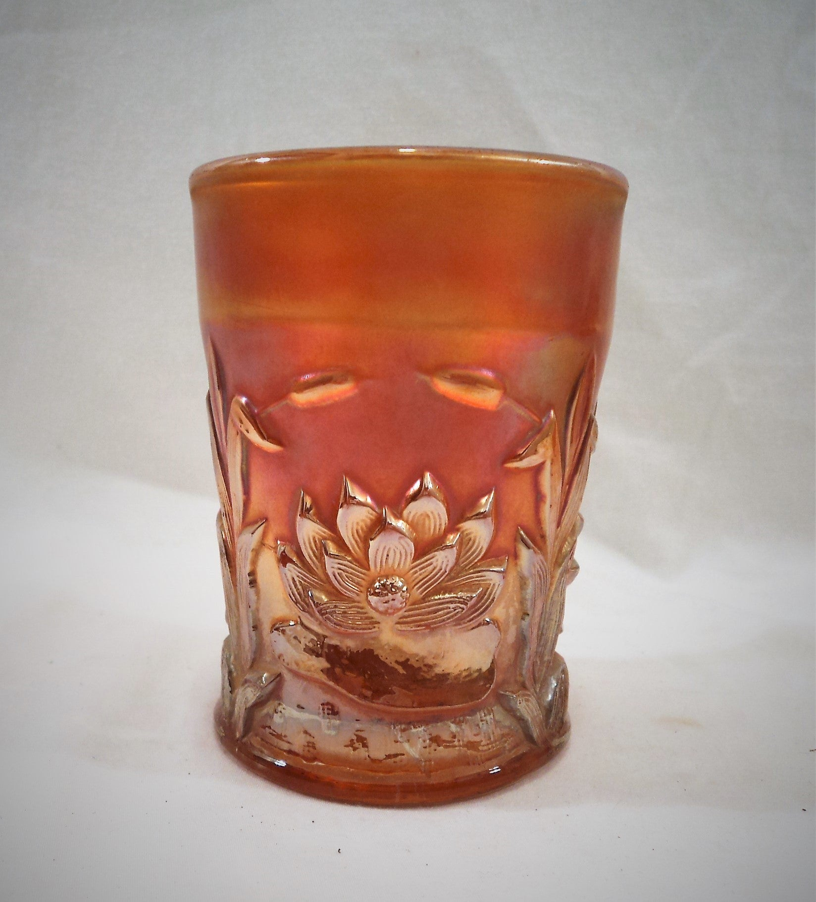 Fenton Waterlily and Cattails Marigold Carnival Glass Tumbler