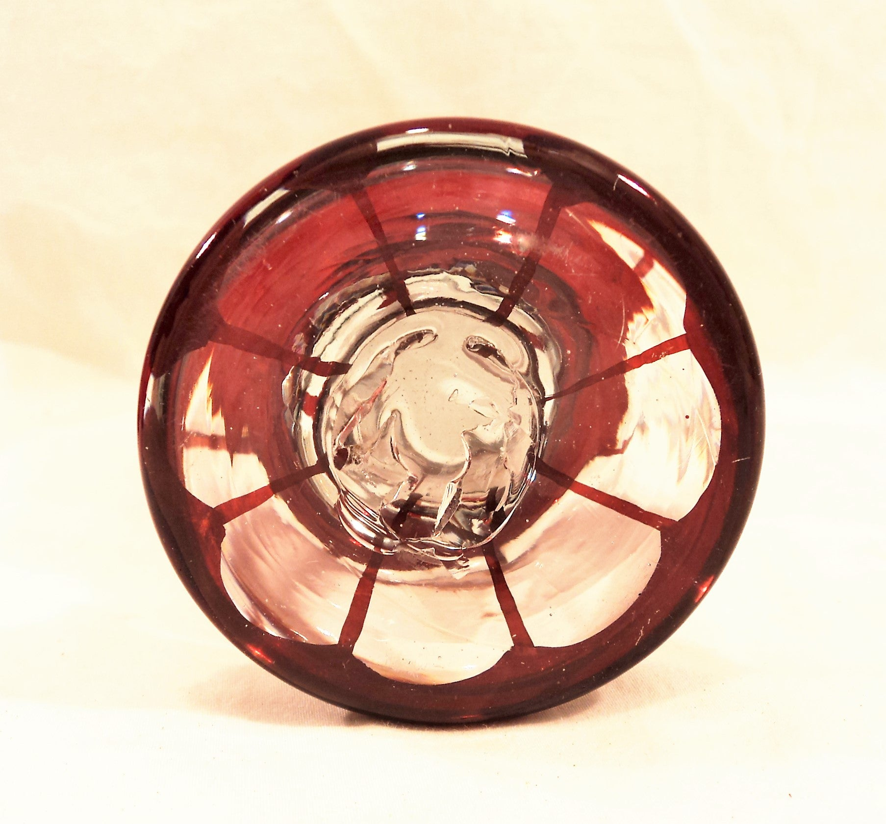 Antique Egermann Hand-blown Wheel-Cut Ruby Red Stained Cup