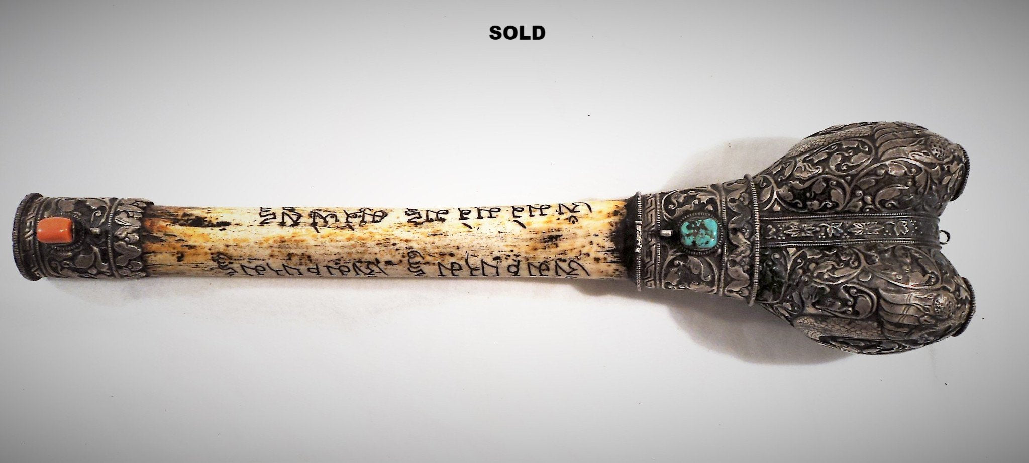 Antique Engraved Tibetan Bone Flute (Kangling) with Silver Repousse
