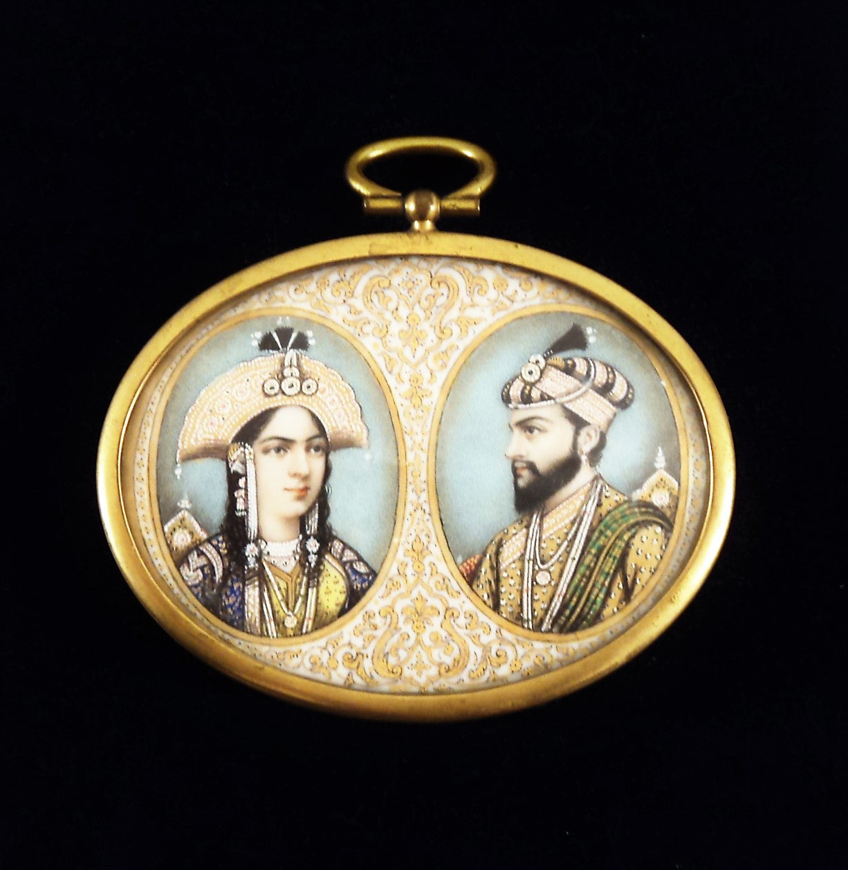 19th C. Shah Jahan and Mumtaz Mahal Miniature Portrait on Ivory