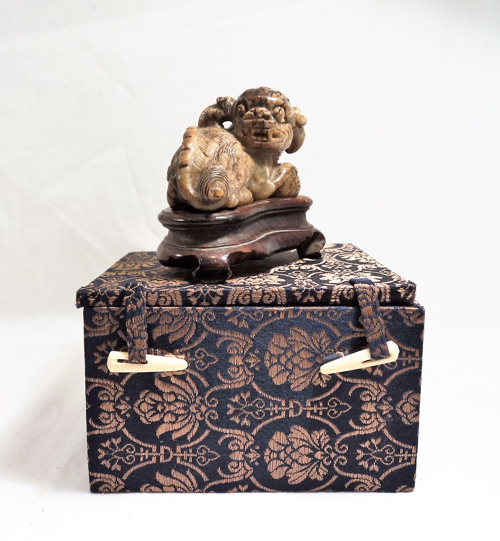 Ming Dynasty (1368-1644) Carved Antique Soapstone Temple Lion with Ball