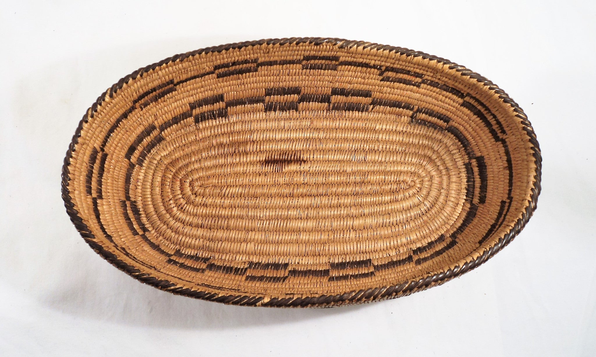 Early 1900s Pima Hand-Woven Oval Lidded Basket