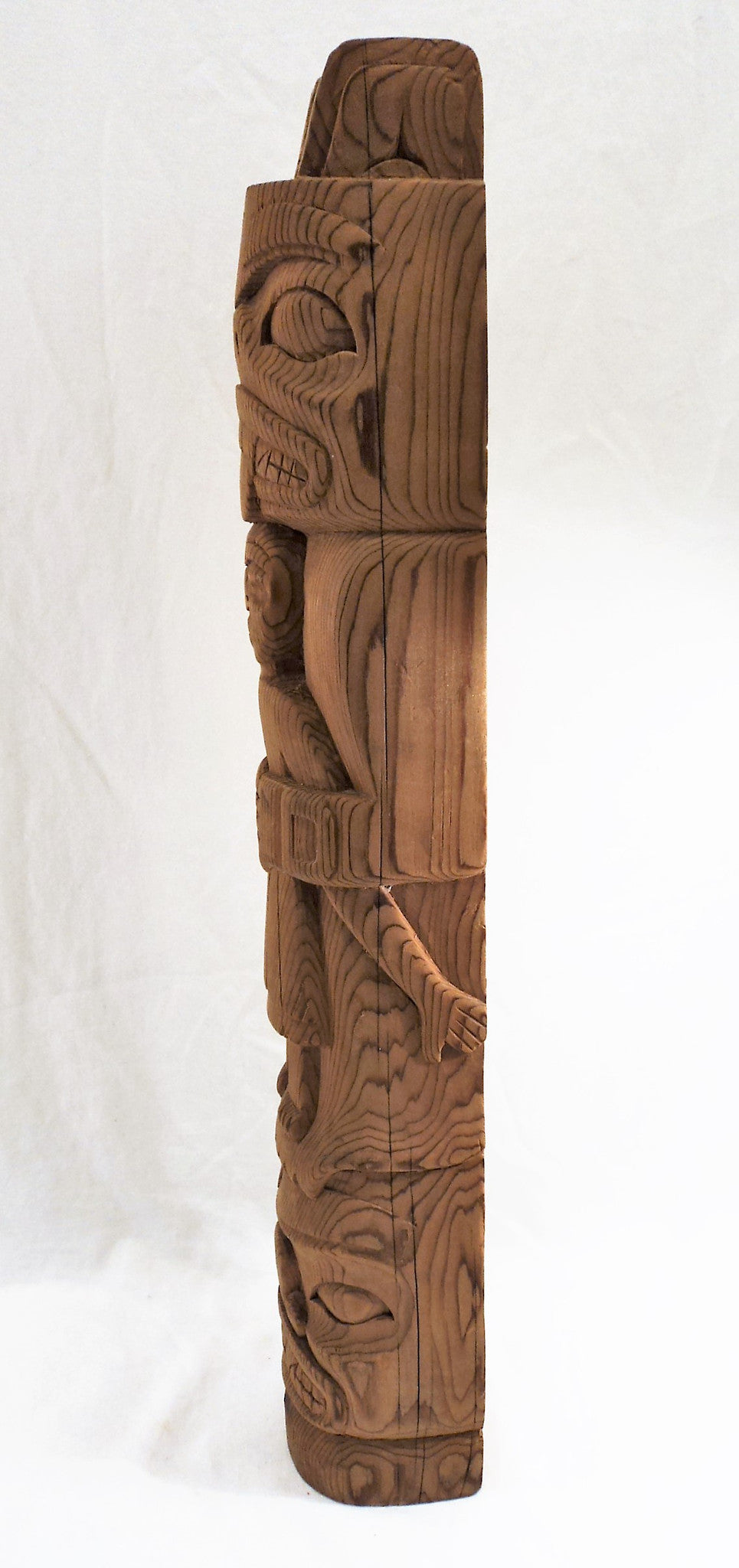 Hand-Carved Haida Wooden Model Totem Pole