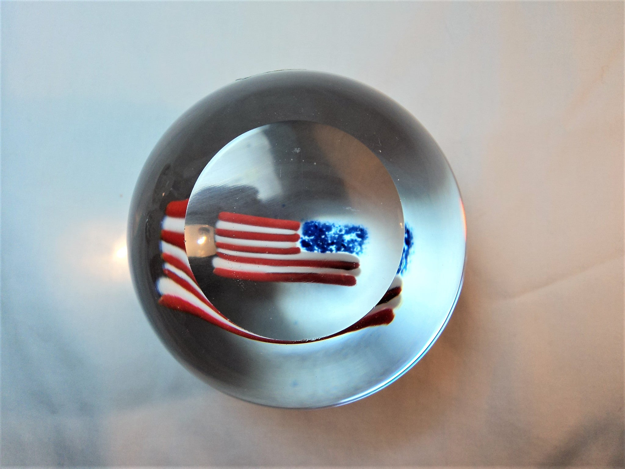 American Flag Glass Paperweight