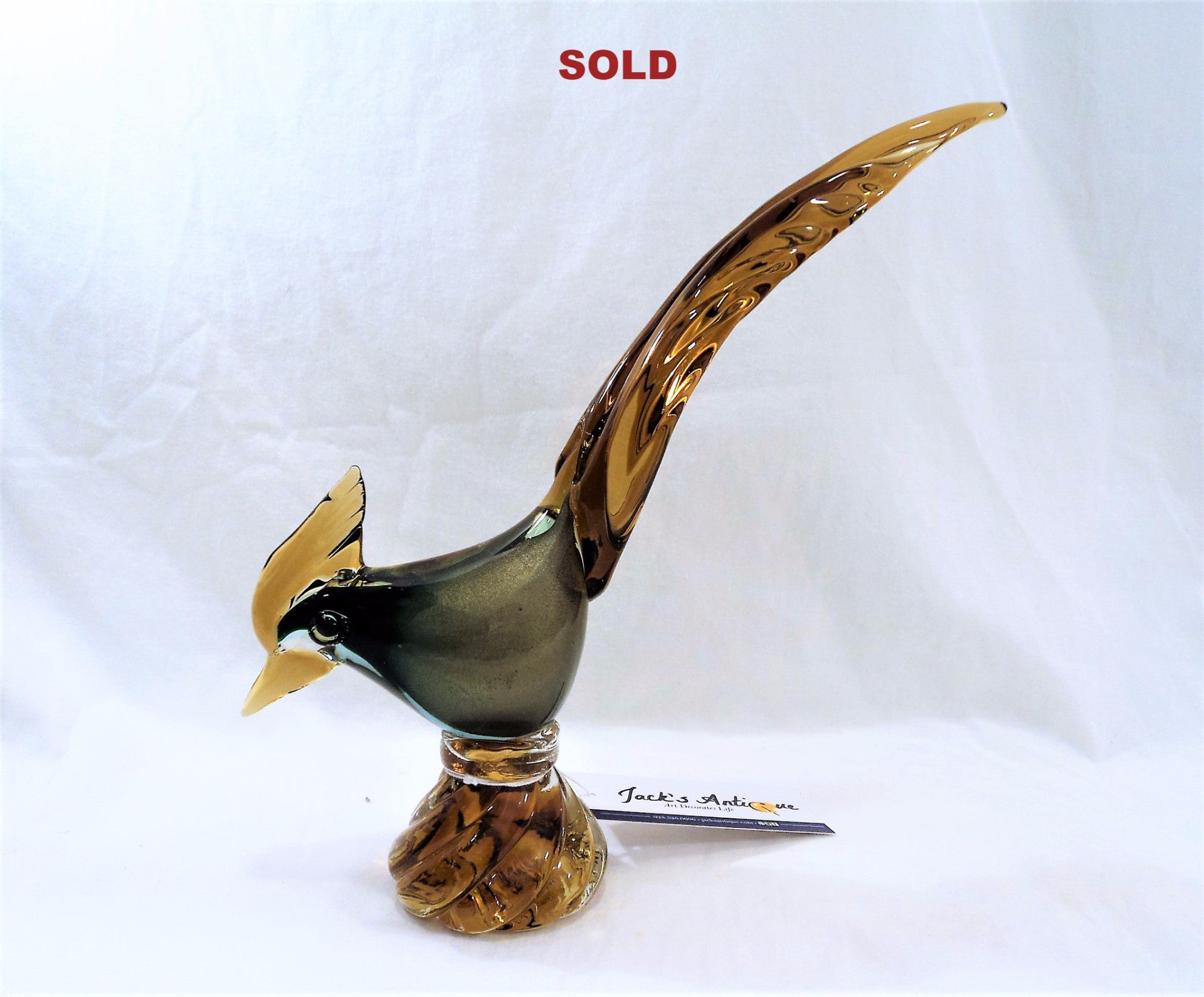 Murano Green and Amber Art Glass Pheasant