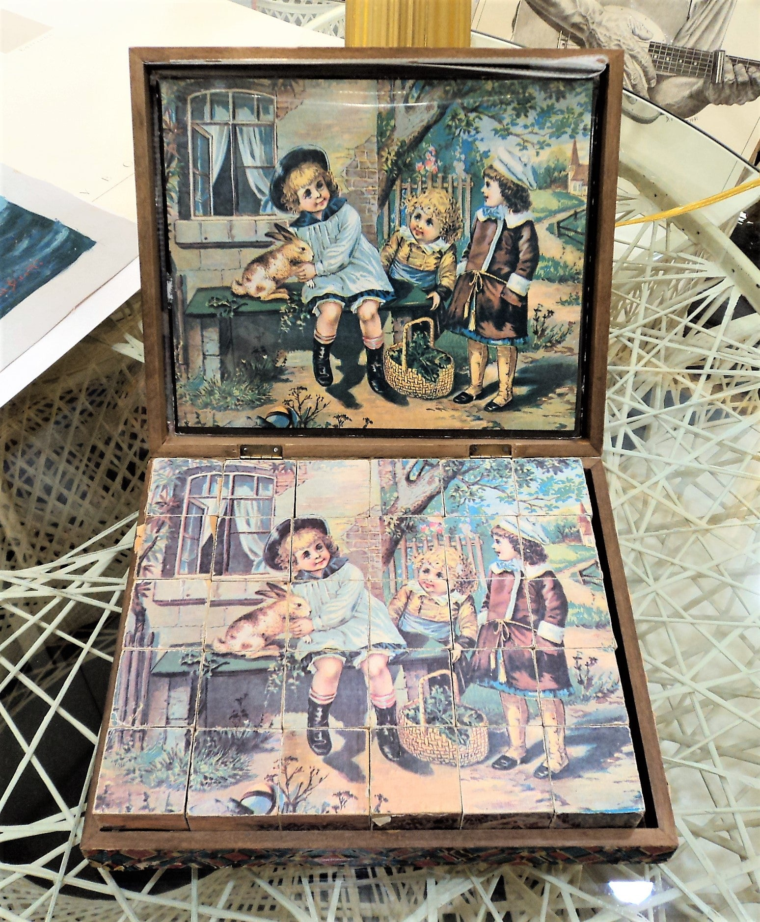 Antique Victorian Woodblock Picture Puzzle