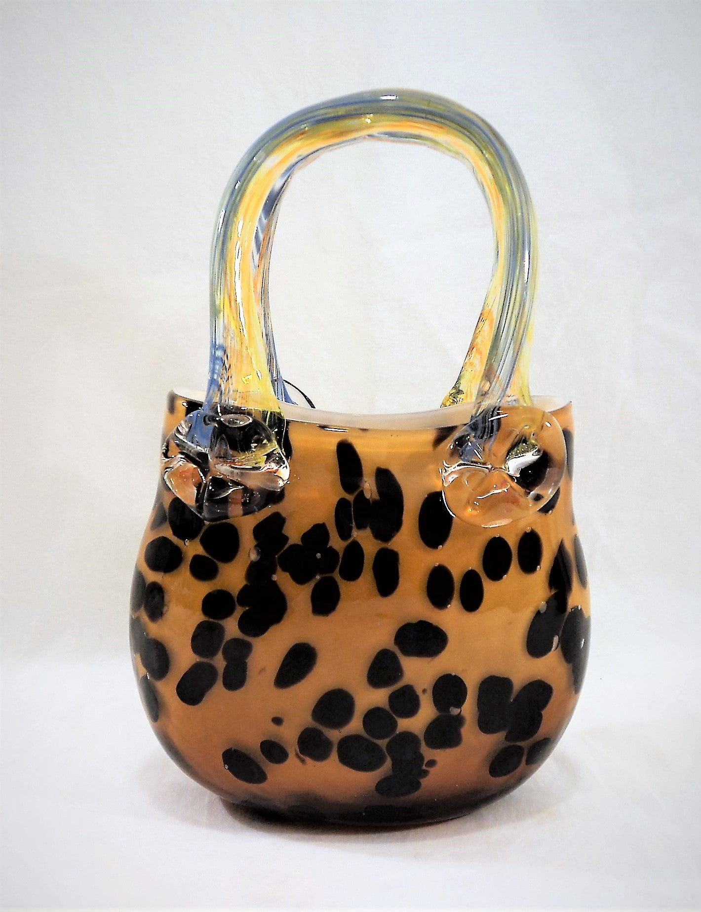 Brown Speckled Yellow Art Glass Purse
