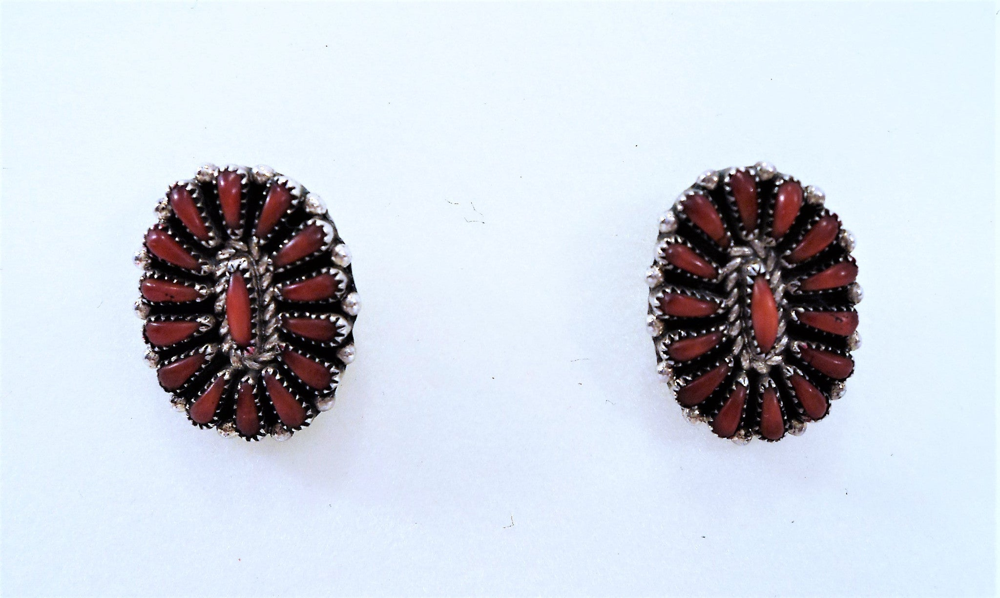 Native American Zuni Needlepoint Coral and Sterling Silver Earrings