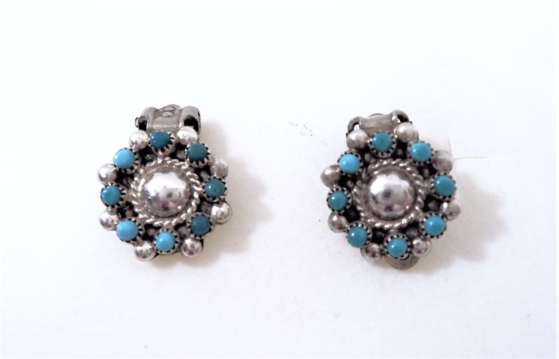 Native American Zuni Petit Point Silver and Turquoise Clip-On Earrings