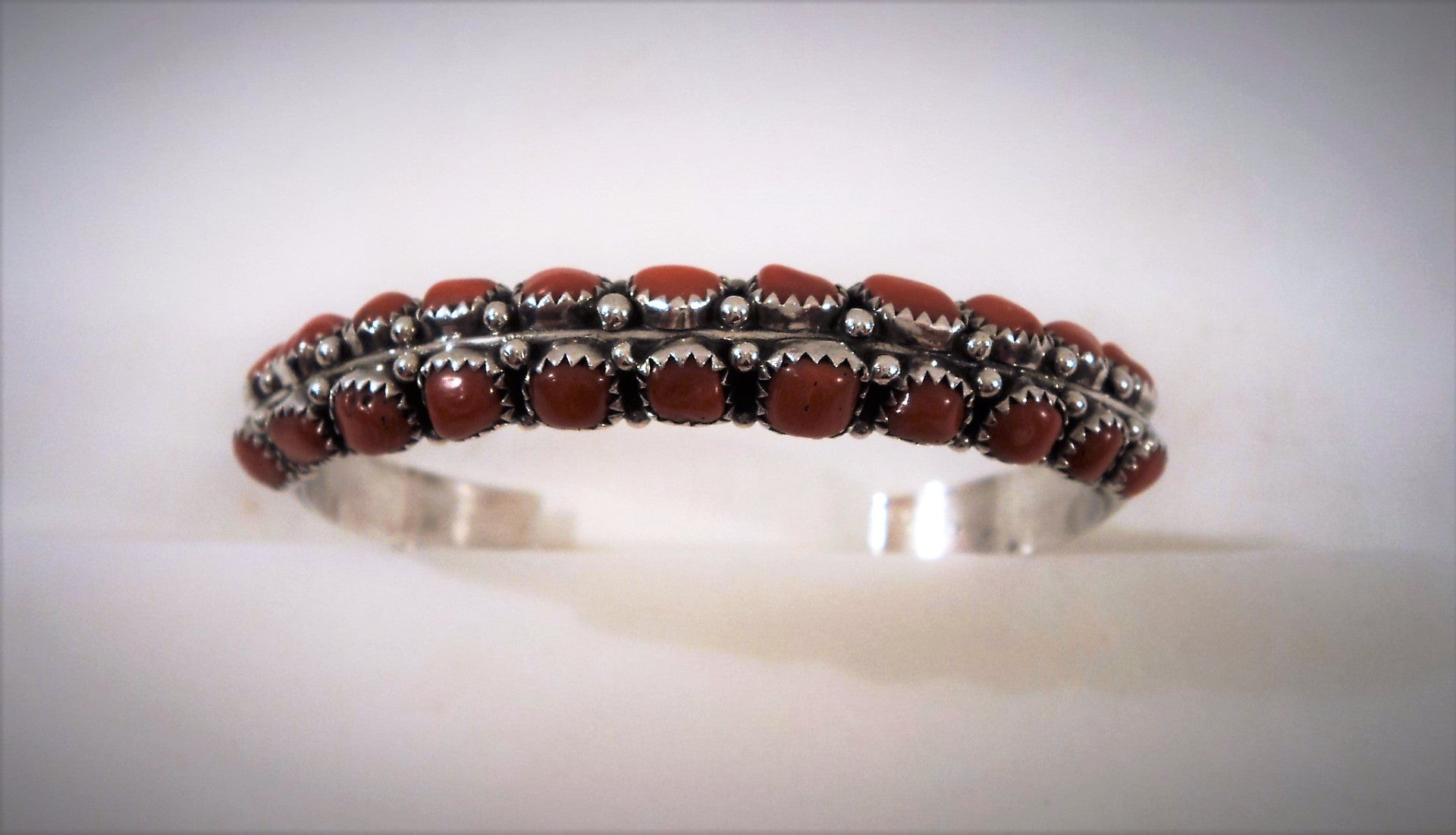 Vintage Native American Zuni Silver and Coral Cuff Bracelet
