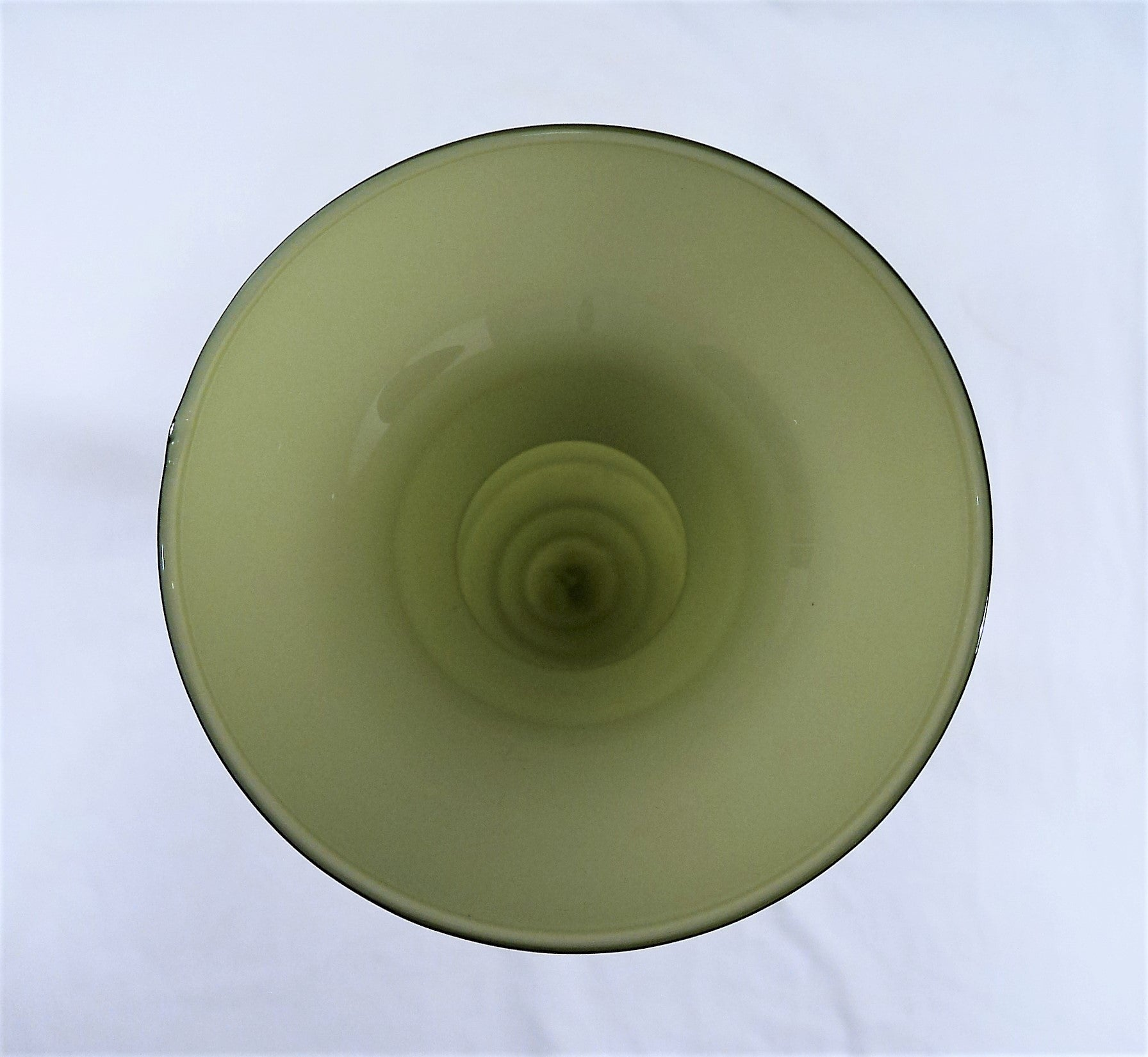Hand-Blown Mid-Century Cased Art Glass Olive Green Vase