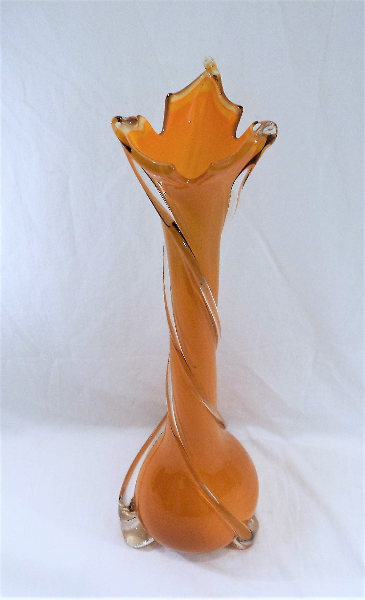 Hand-Blown Mid-Century Orange Cased Art Glass Vase