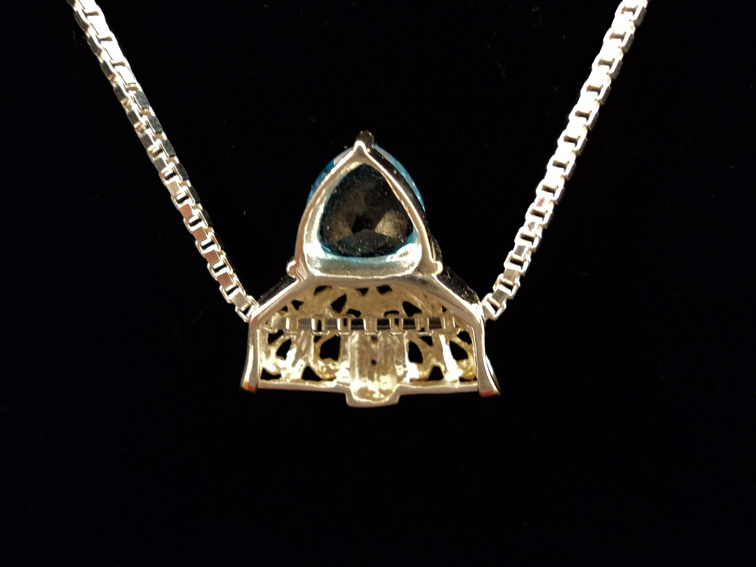 Vintage Sterling Silver and Blue Topaz Cubic Zirconia Necklace