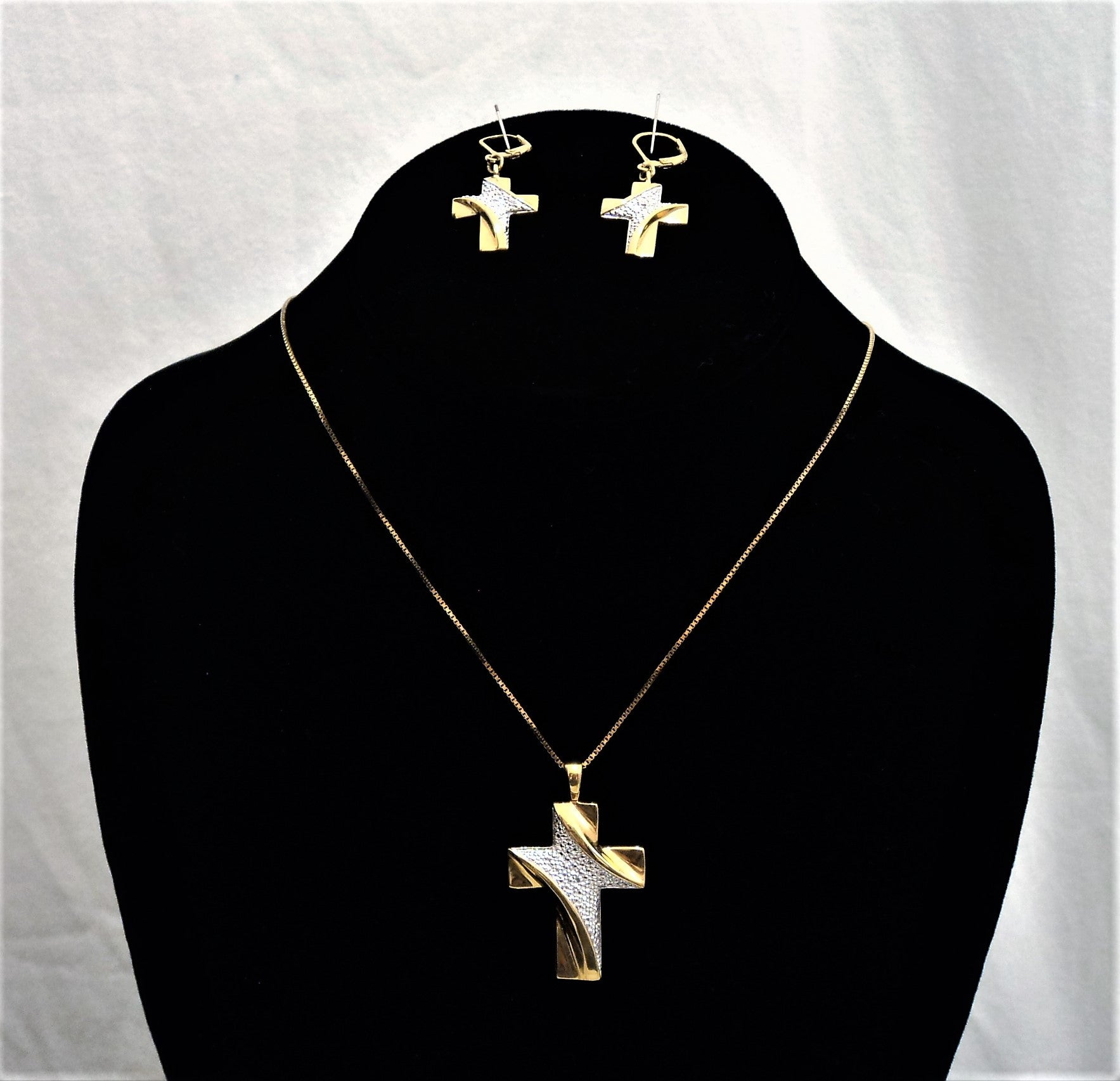 Vintage Gold Over Sterling Silver Cross Earrings and Necklace Set