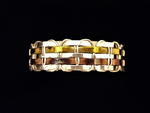 Woven Silver, Copper and Brass Cuff Bracelet