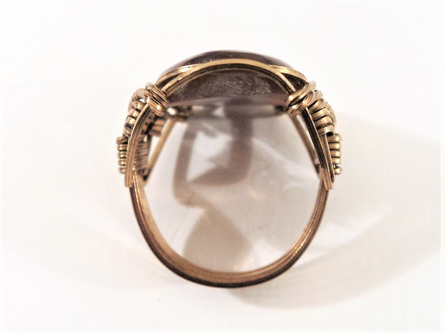 Wire Wrapped Brown Agate Ring
