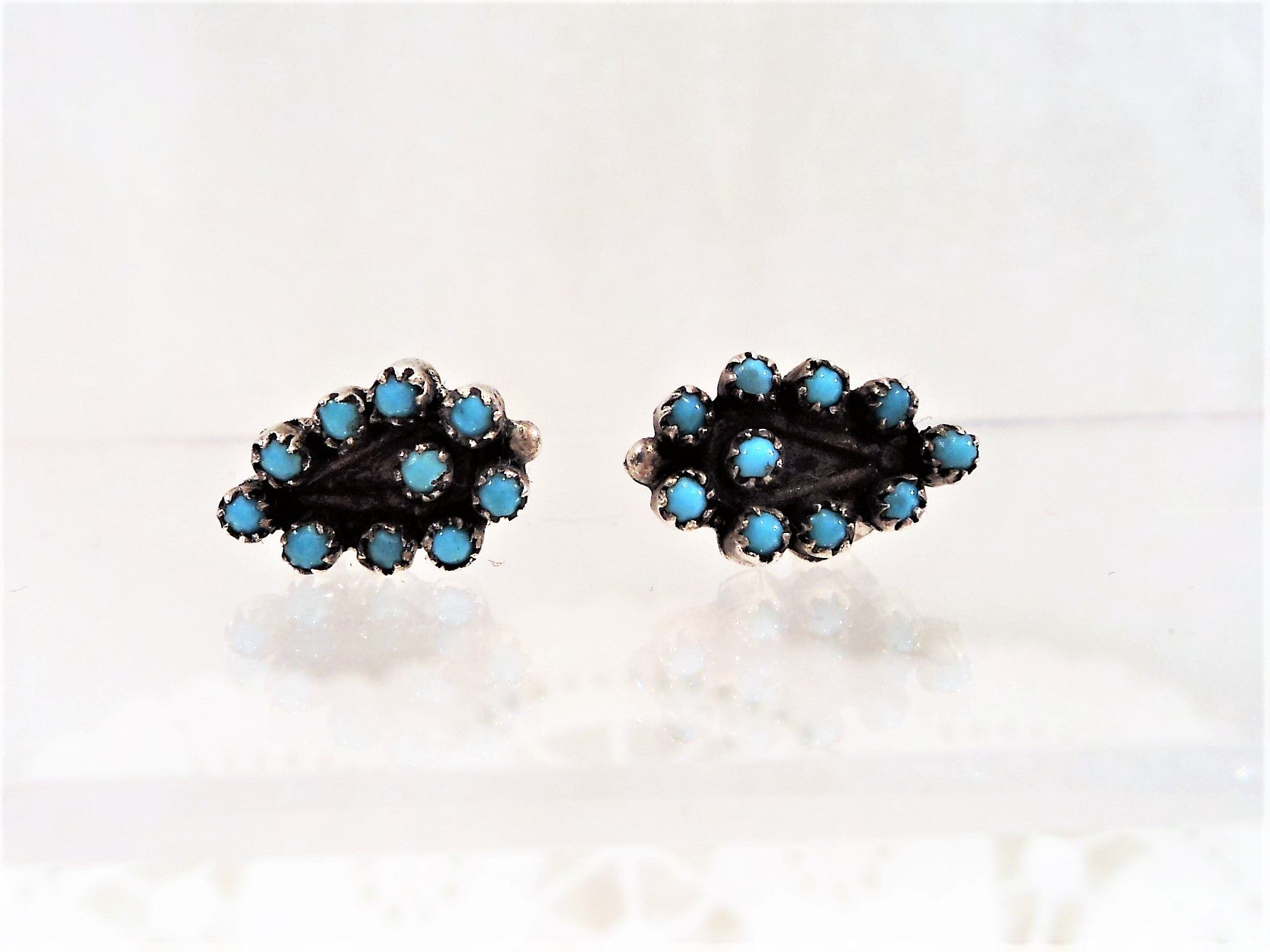 Native American Zuni Petit Point Sterling Silver & Turquoise Earrings
