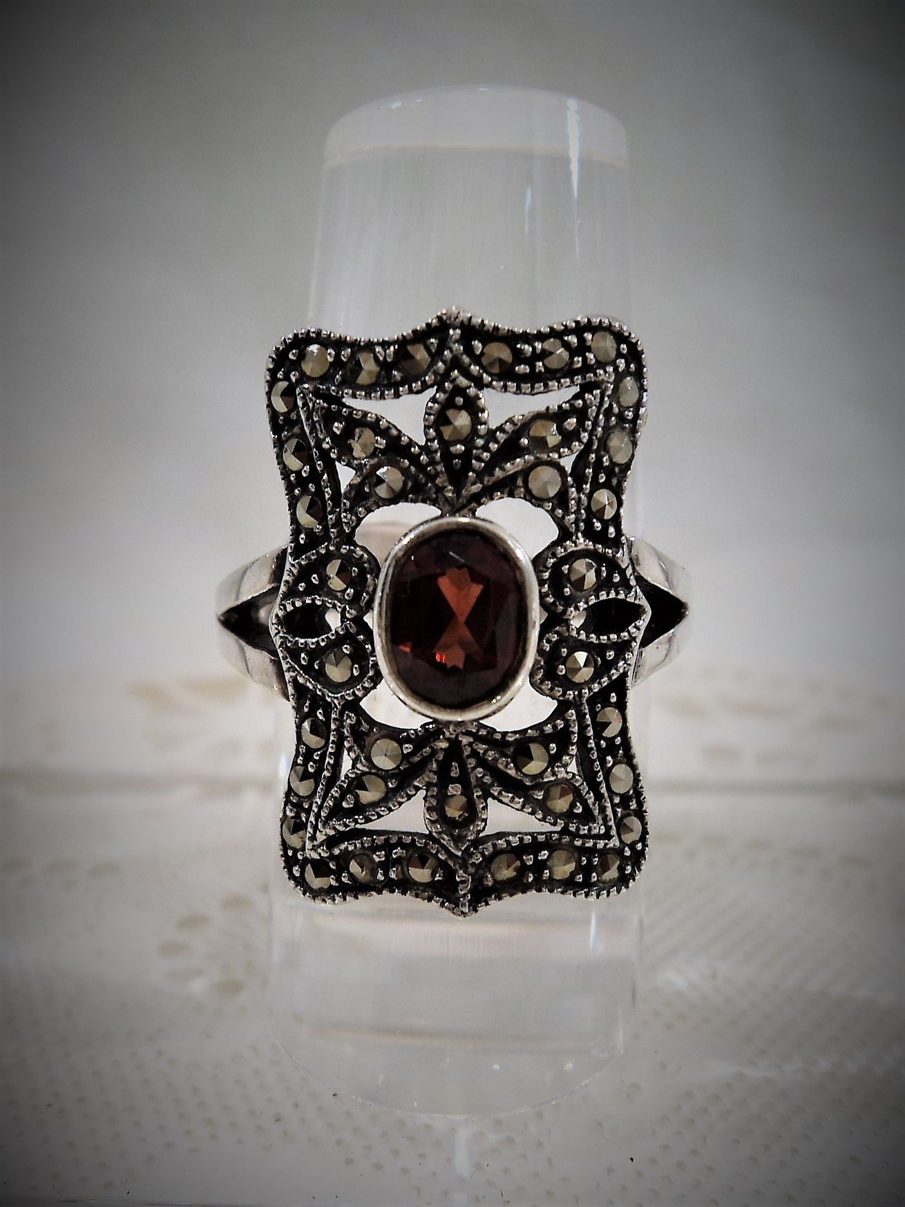Vintage Marcasite Cocktail Ring with Garnet Center