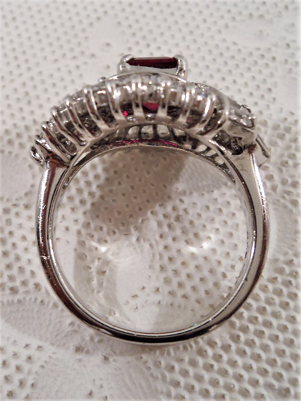 Platinum Over Sterling Silver Cubic Zirconia Faux Ruby Ring