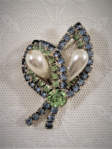 Vintage Pastel Blue and Green Rhinestone Pin