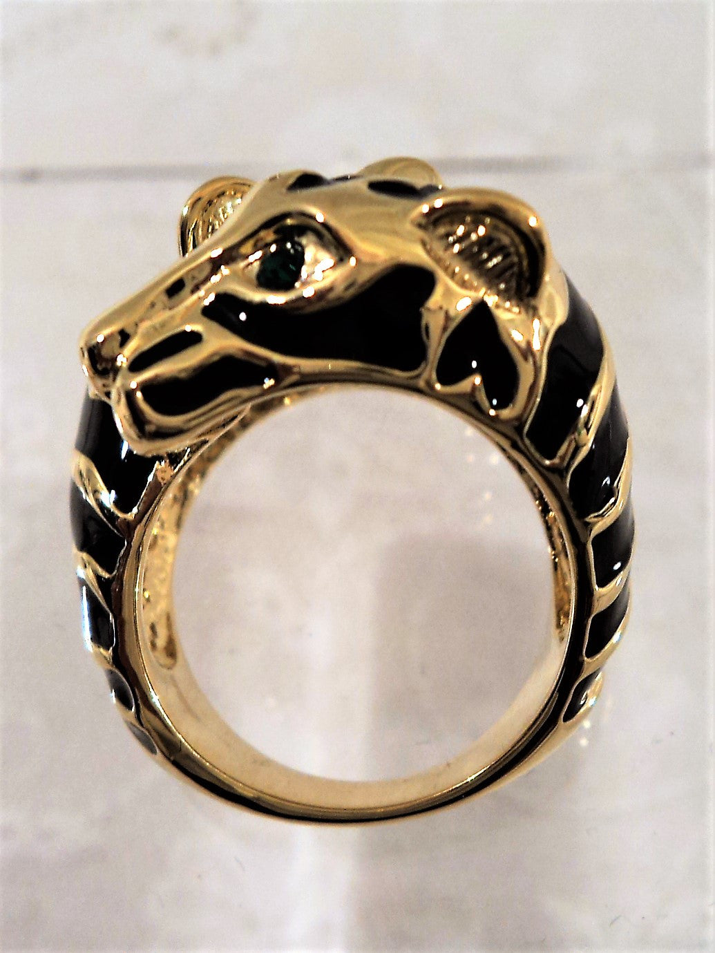 Vintage Double Panther Black Enamel Ring