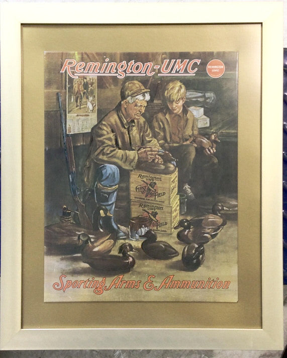 Remington UMC Framed Enamel Advertising Sign