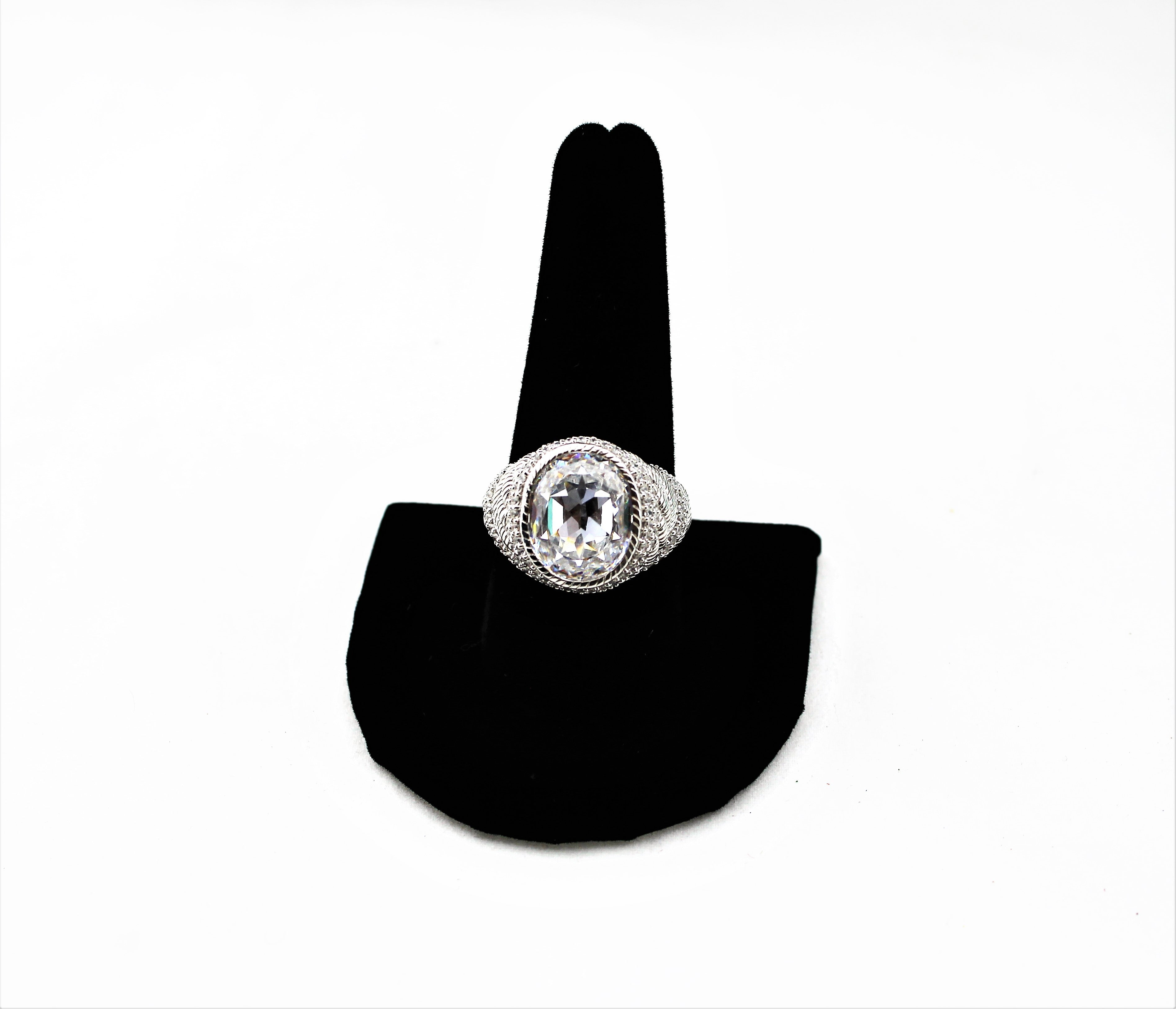 Judith Ripka Sterling Silver and CZ Ring