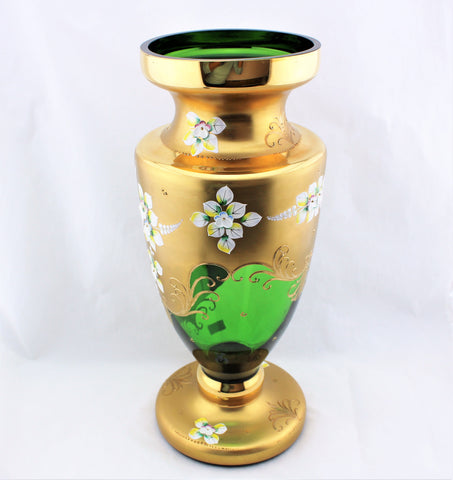Egermann High Enamel Green Vase