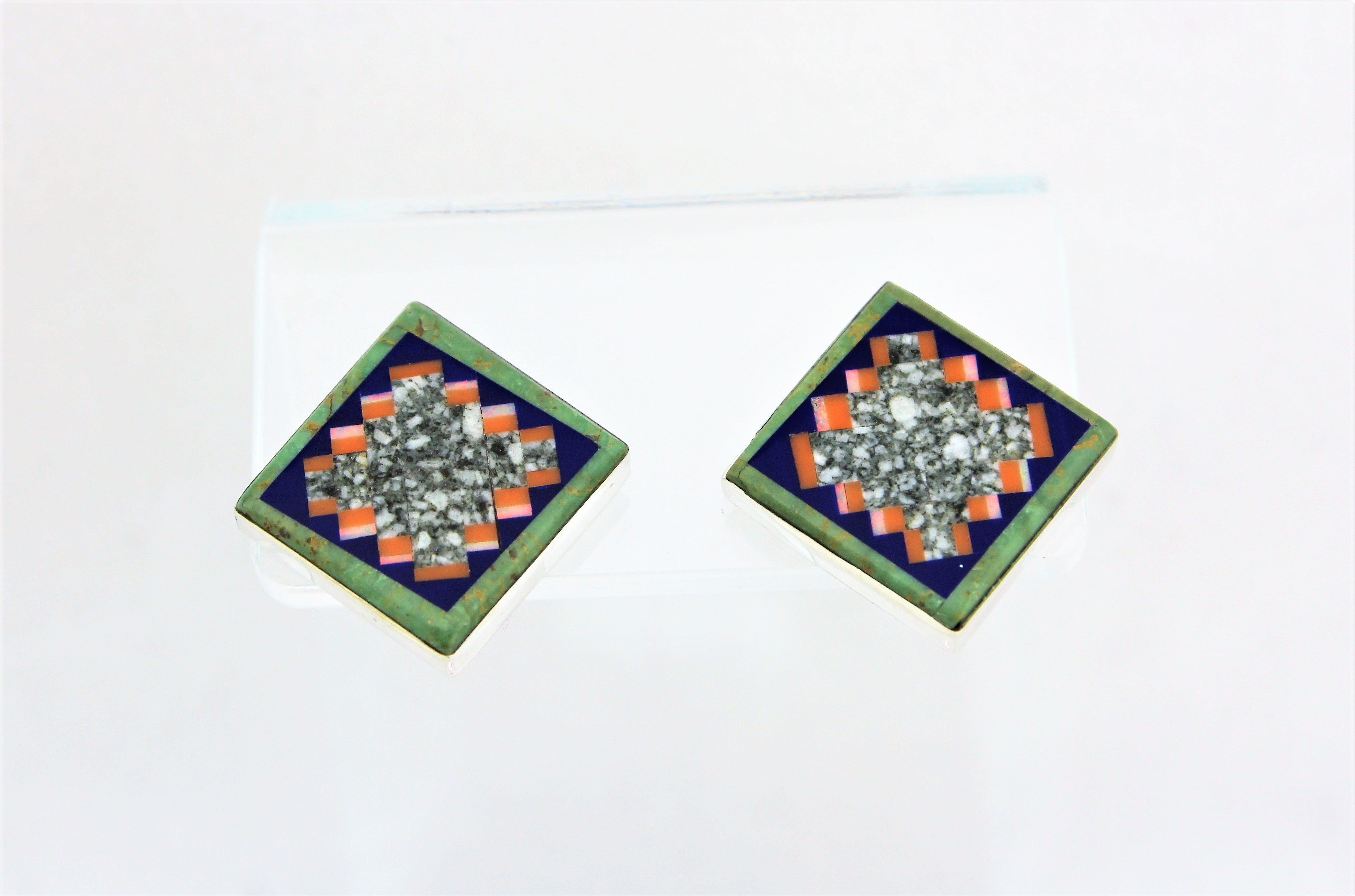 Abraham Begay Square Microinlay Earrings