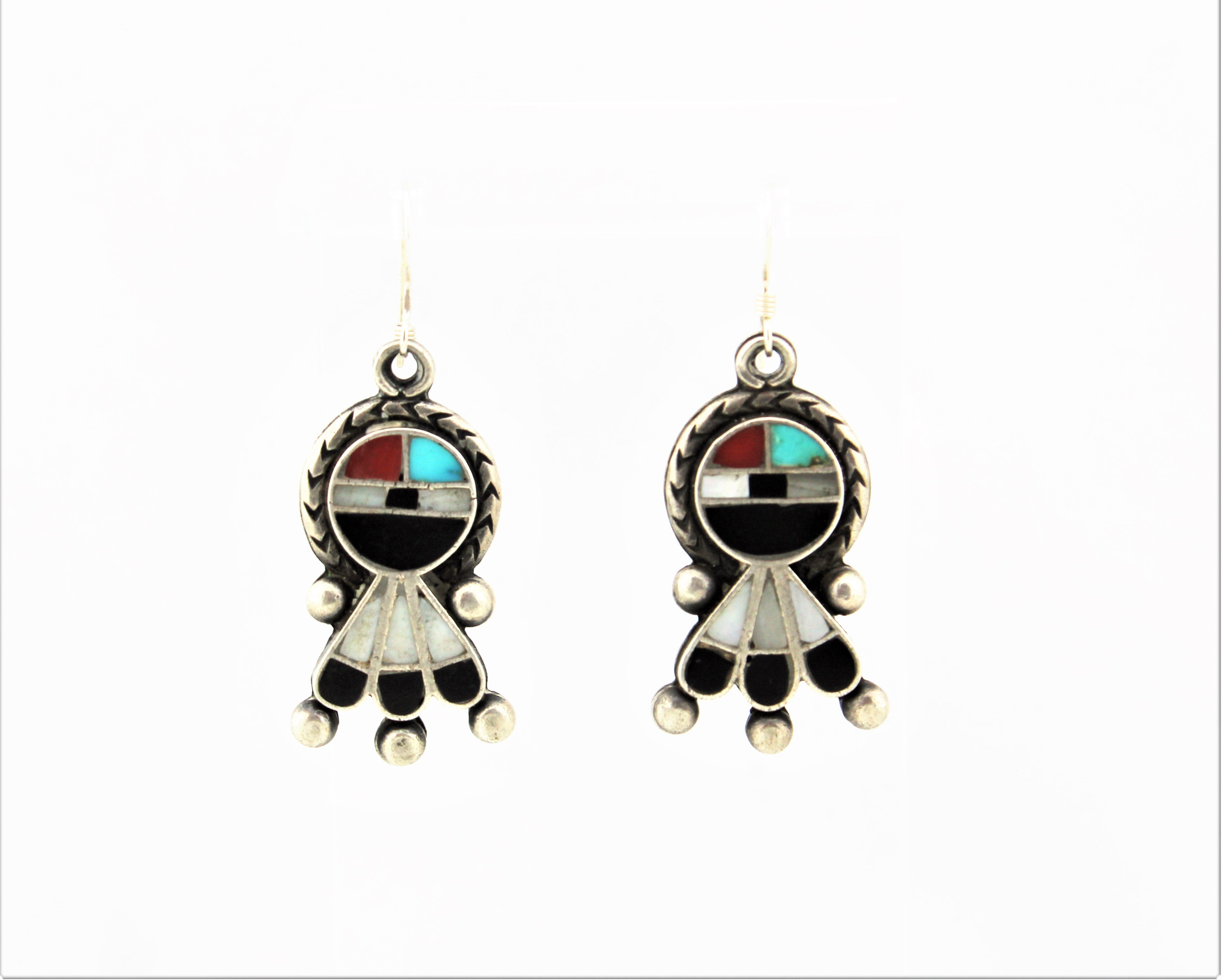 1930s Zuni Face with Raindrops Earrings