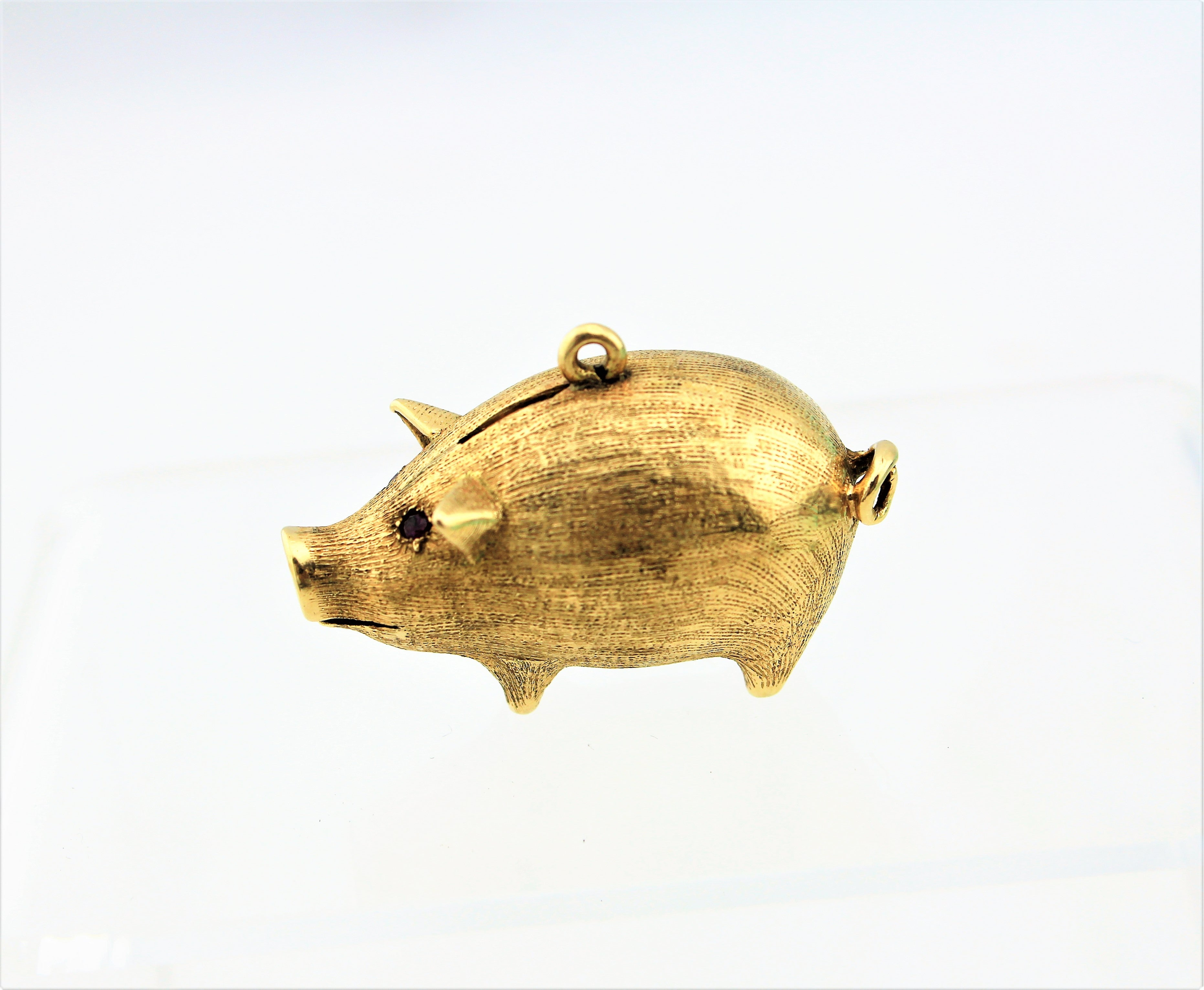 14K Gold Pig Necklace Charm