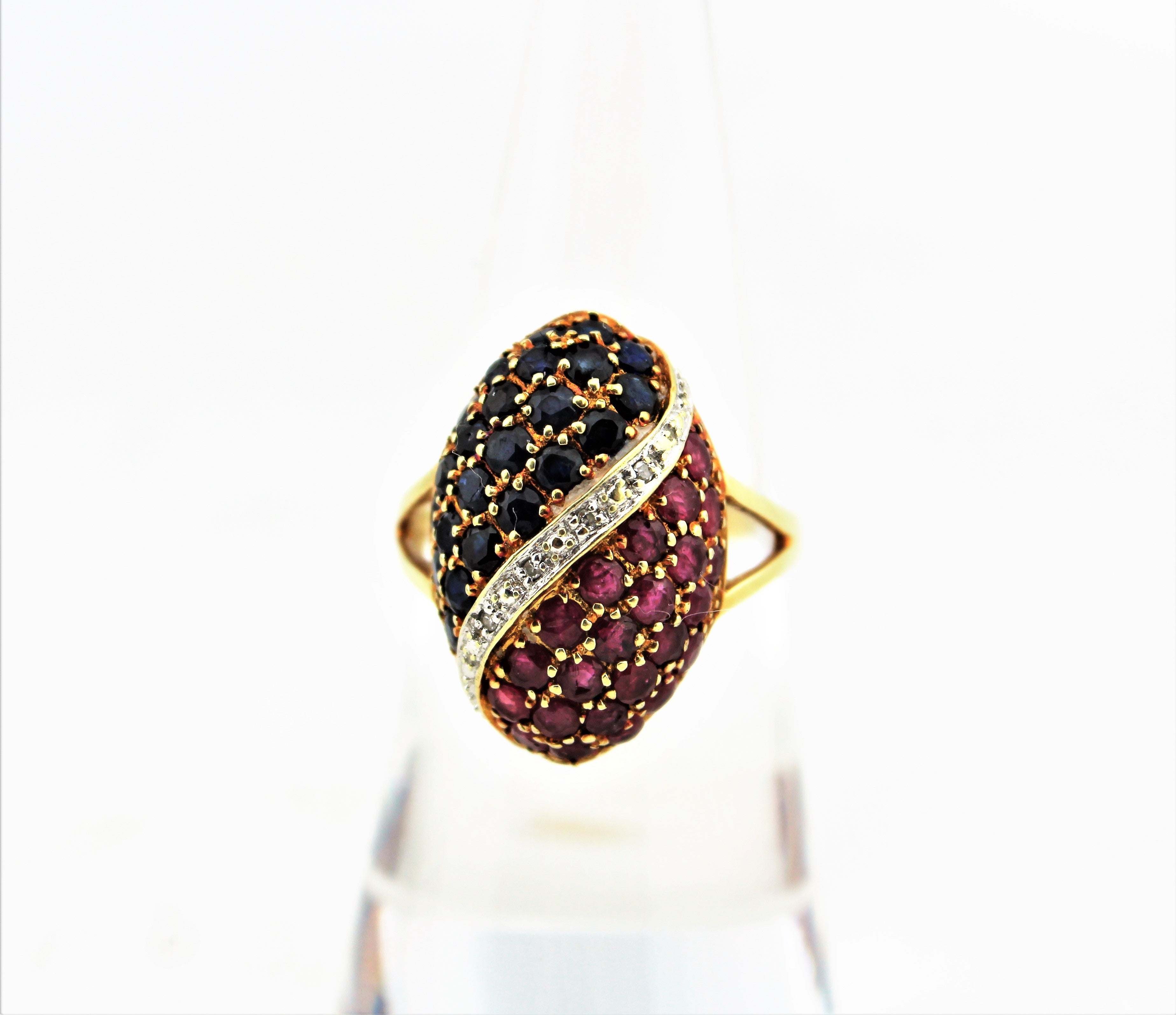 14K Gold Ruby and Sapphire Cocktail Ring