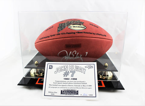 John Elway Signed Retirement Football with COA