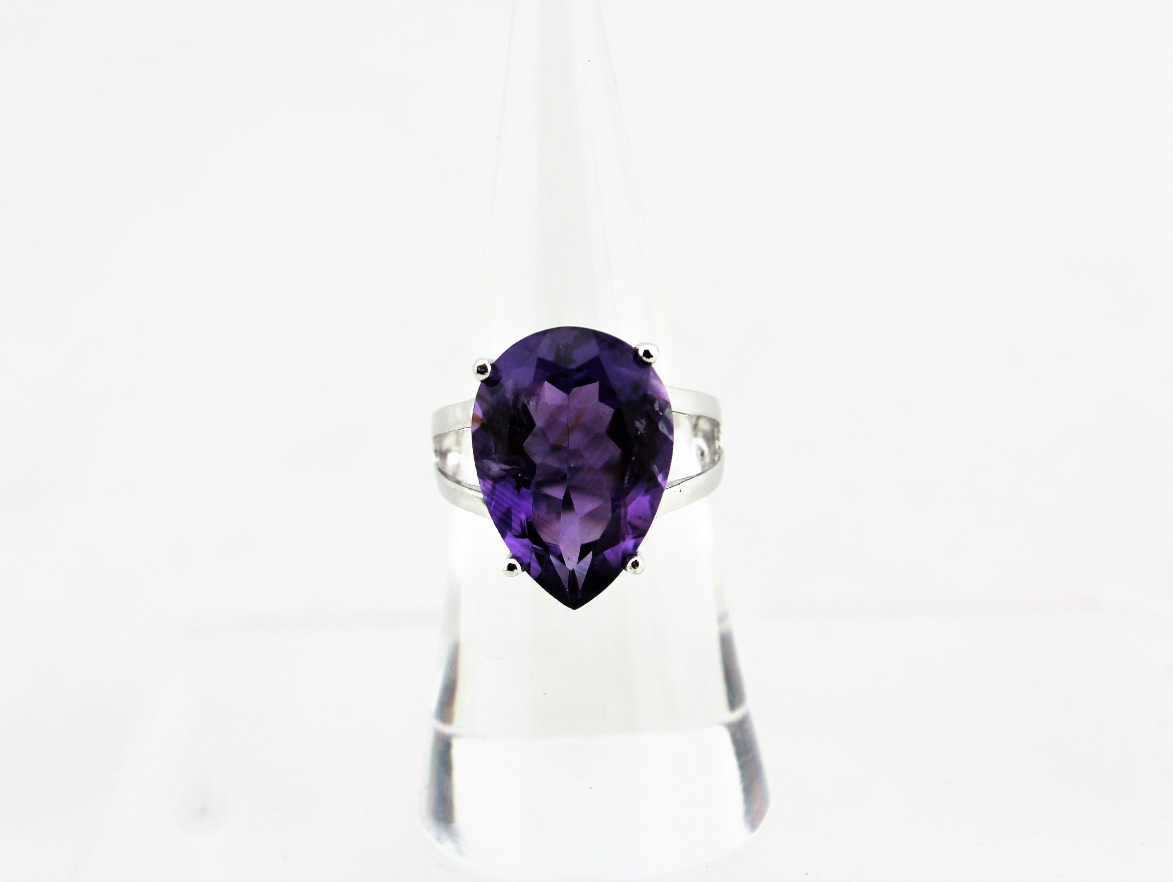 Sterling Silver Pear Cut Amethyst Solitaire Ring