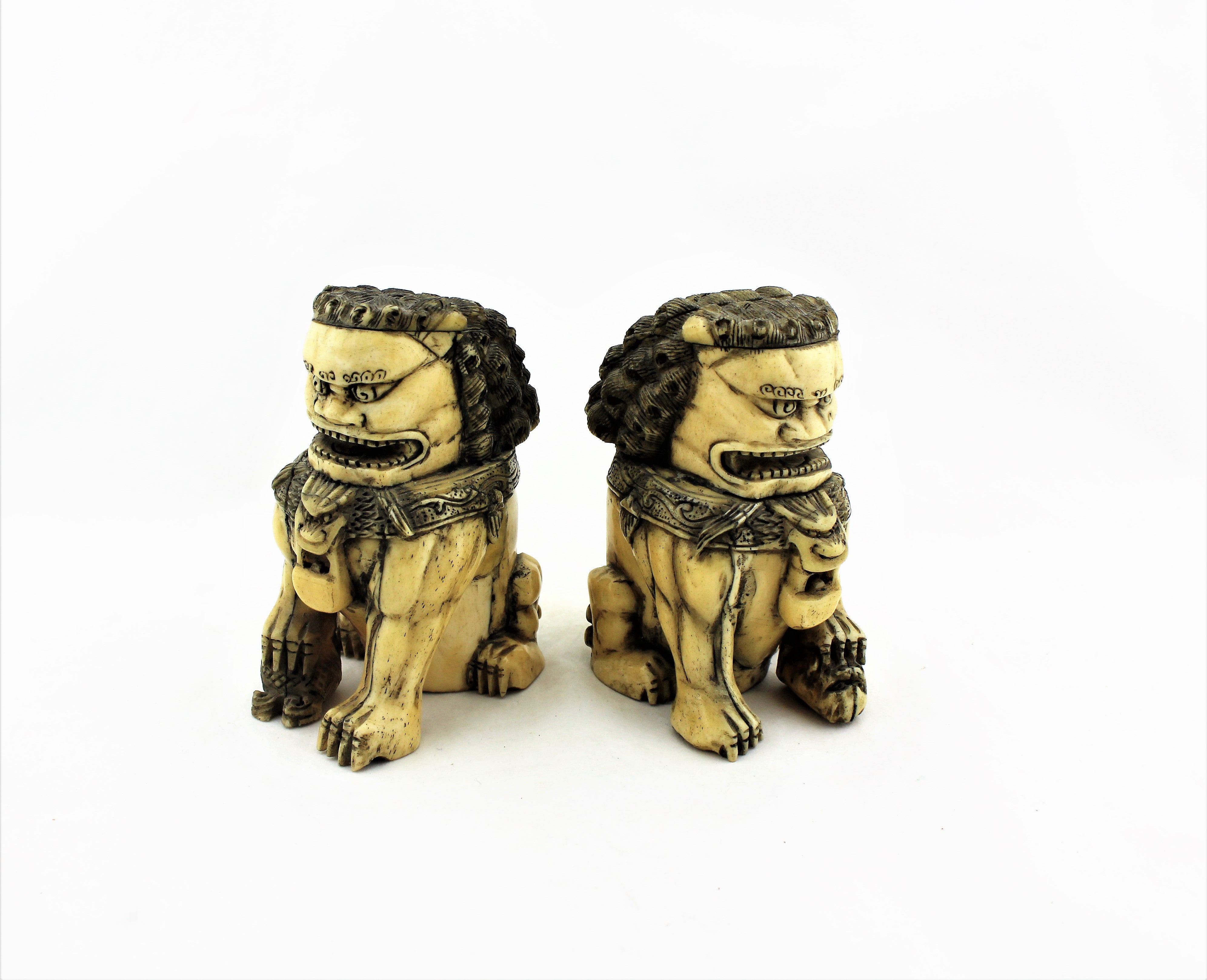 Carved Bone Foo Dog Pair