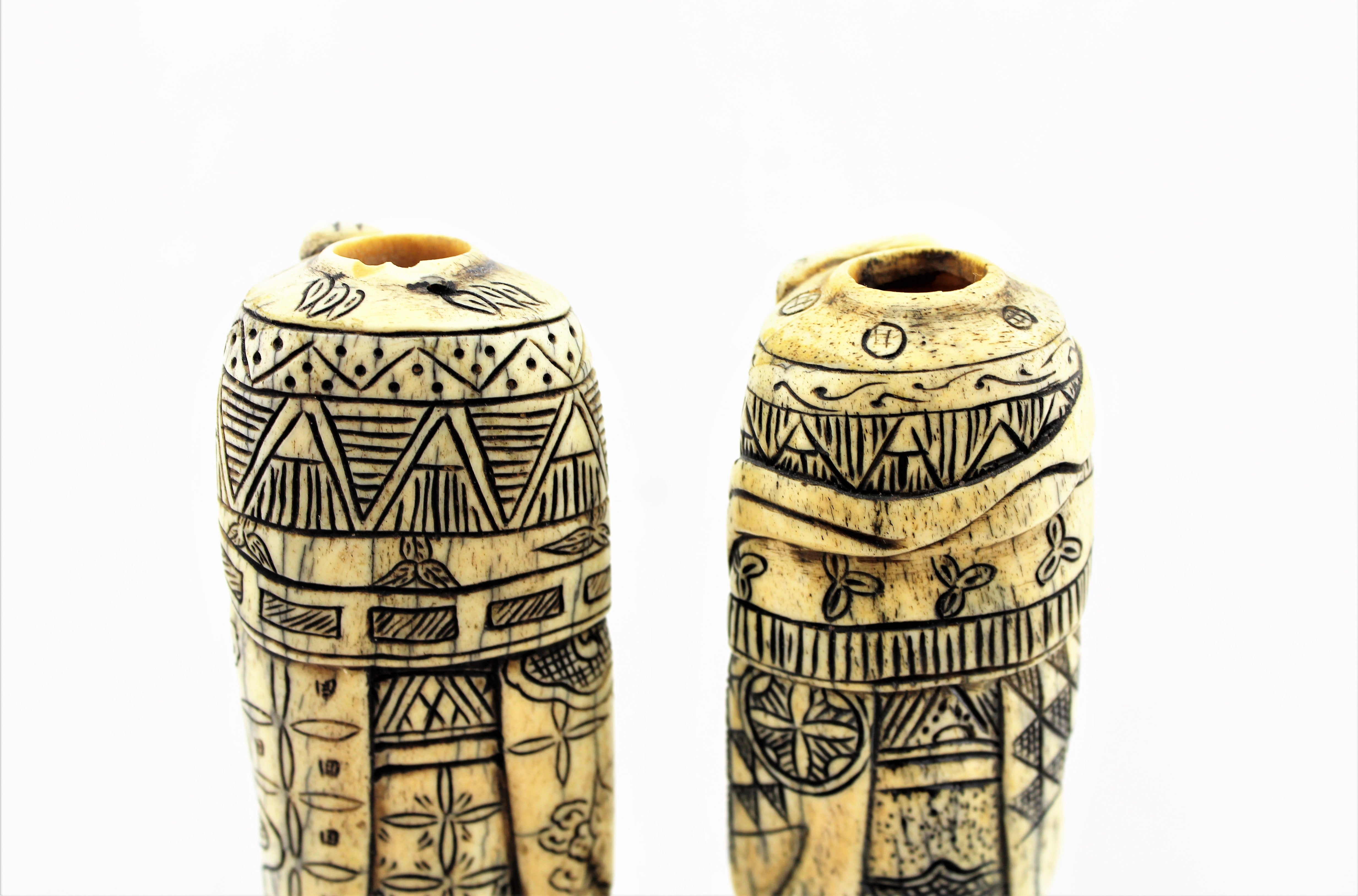 Carved Bone Snuff Bottle Pair