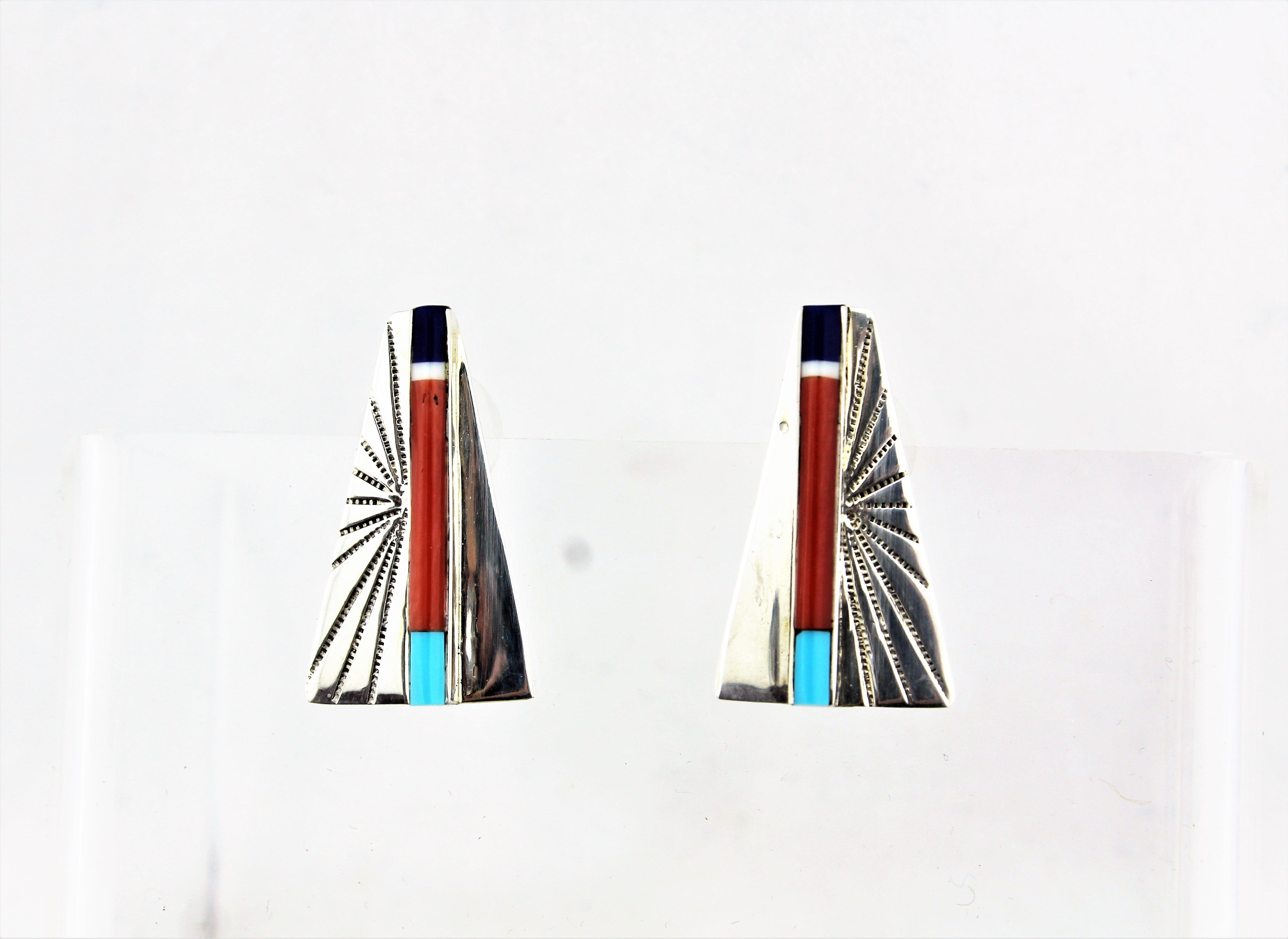 Abraham Begay Sterling Silver Overlay Earrings
