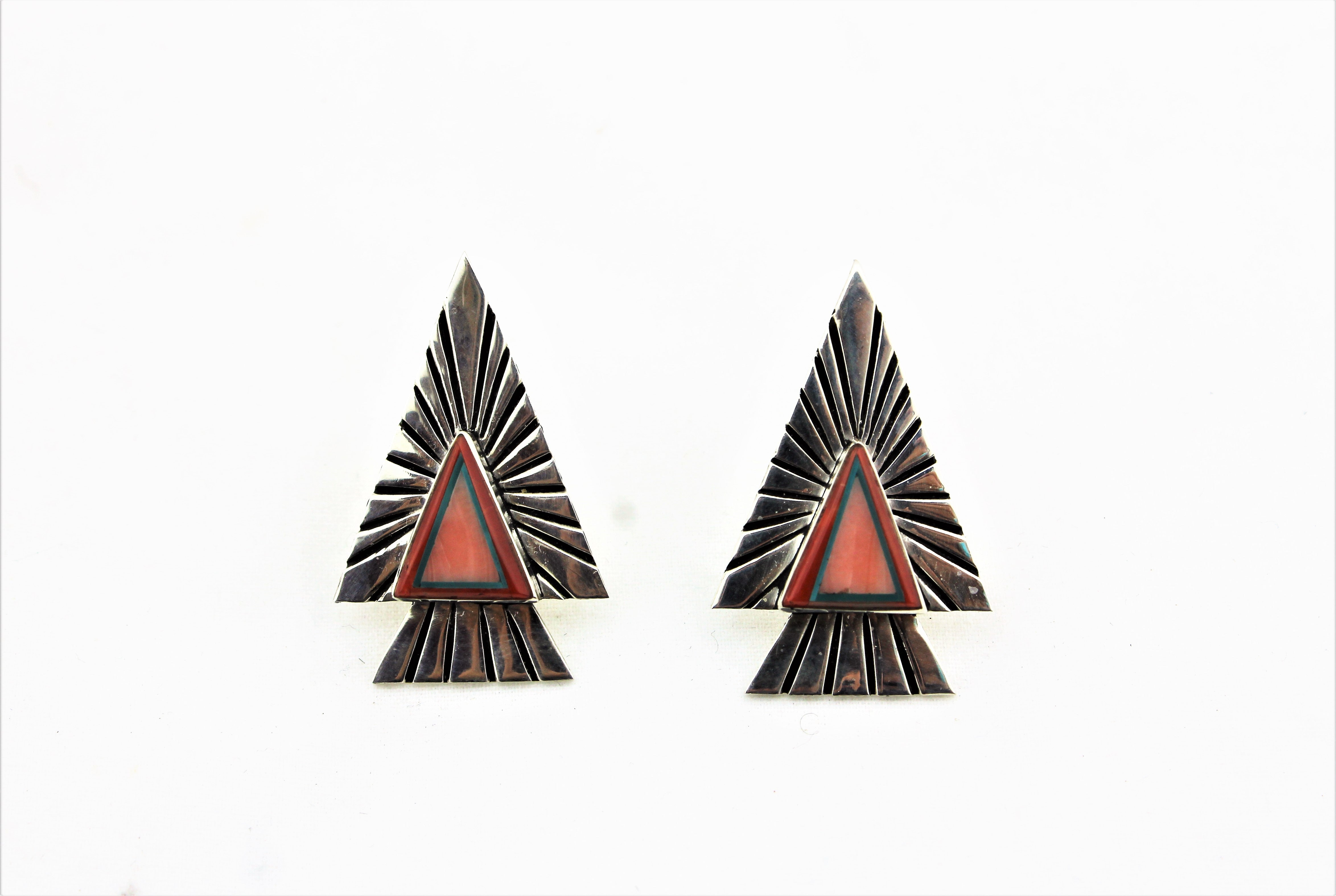 Abraham Begay Sterling Silver Earrings