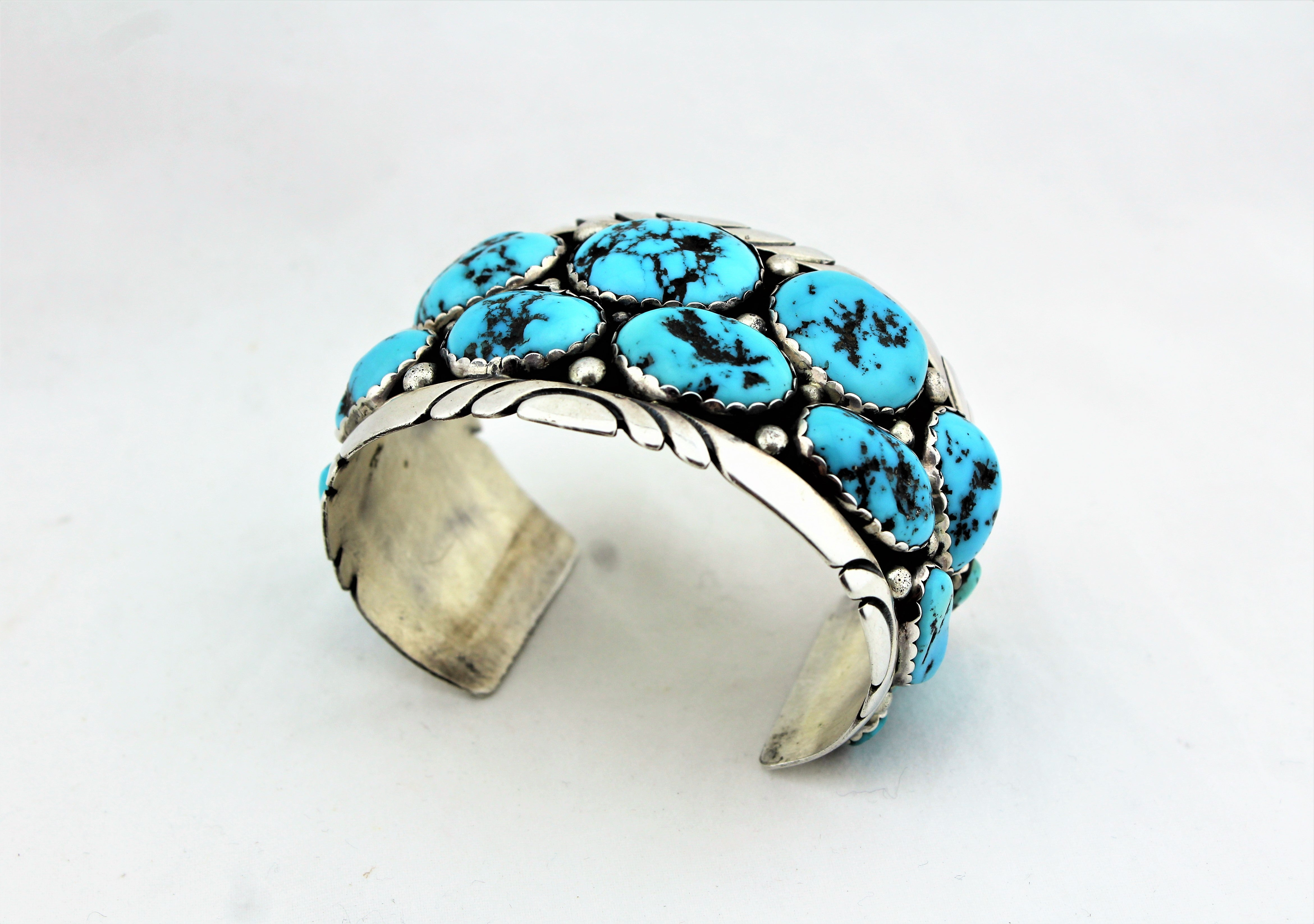 Sterling Silver Kingman Turquoise Nuggets Bracelet