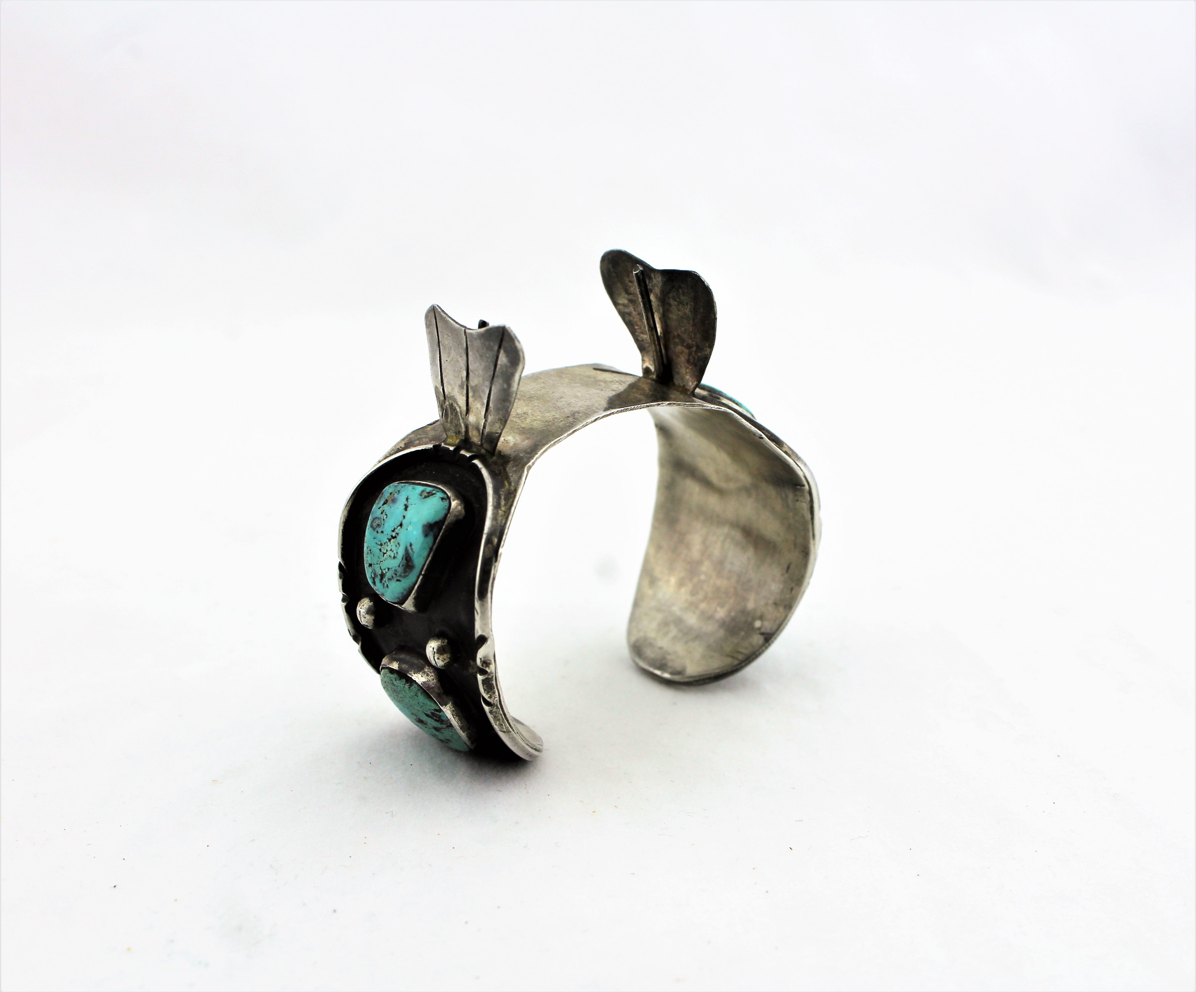 Antique Silver and Turquoise Watch Cuff