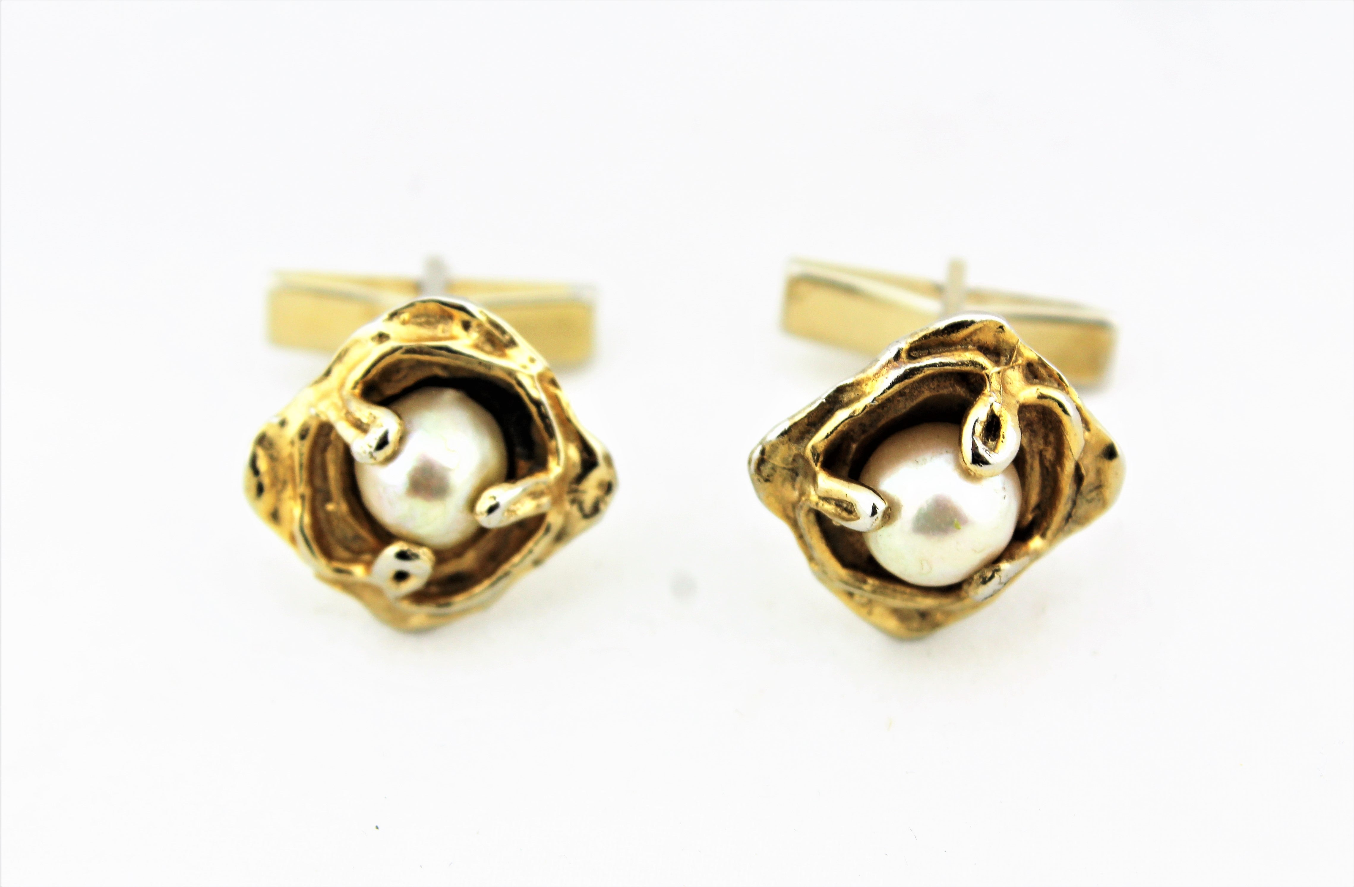 Sterling Silver and Pearl Cufflinks