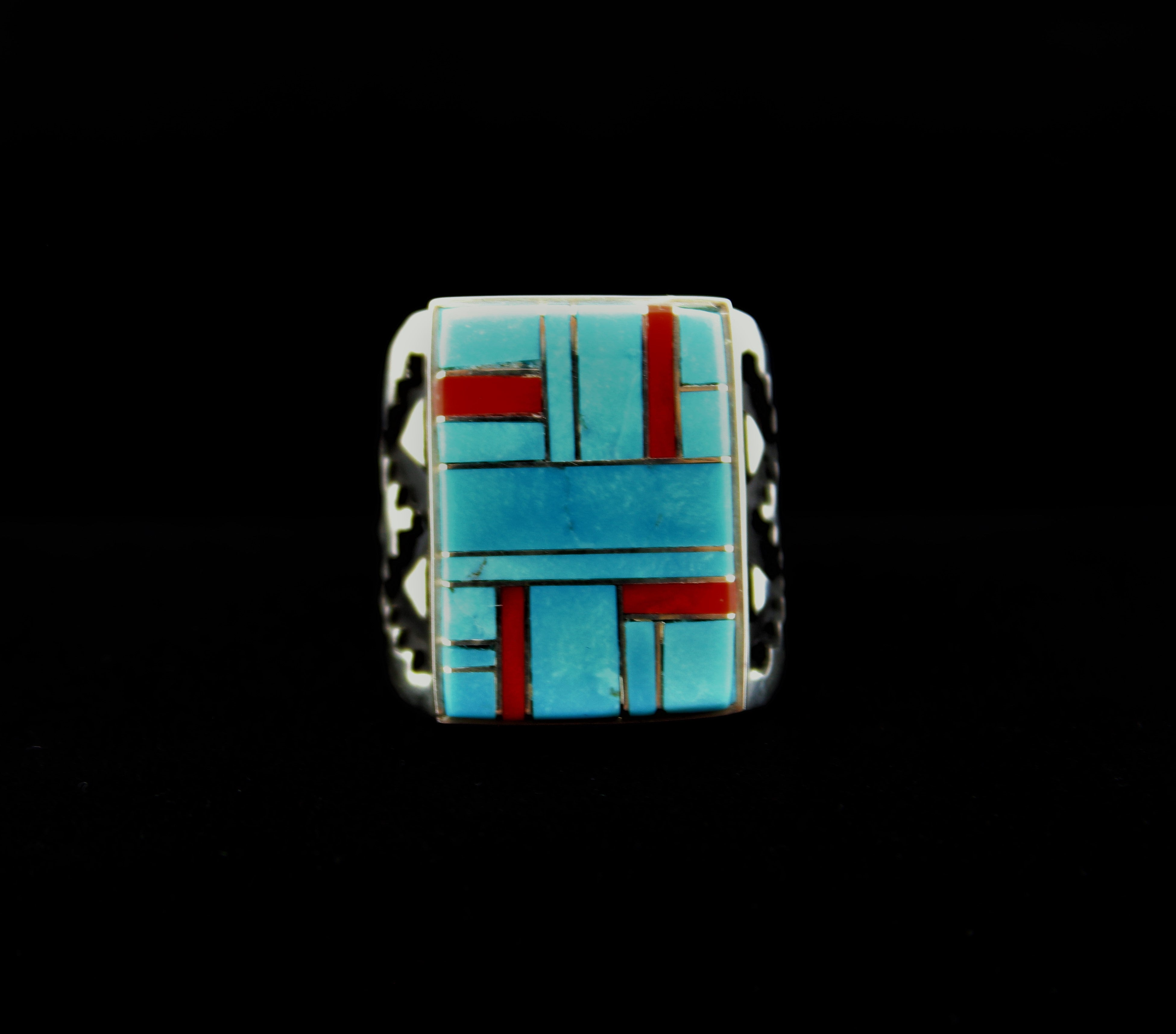 Sterling Silver Inlay Man's Ring