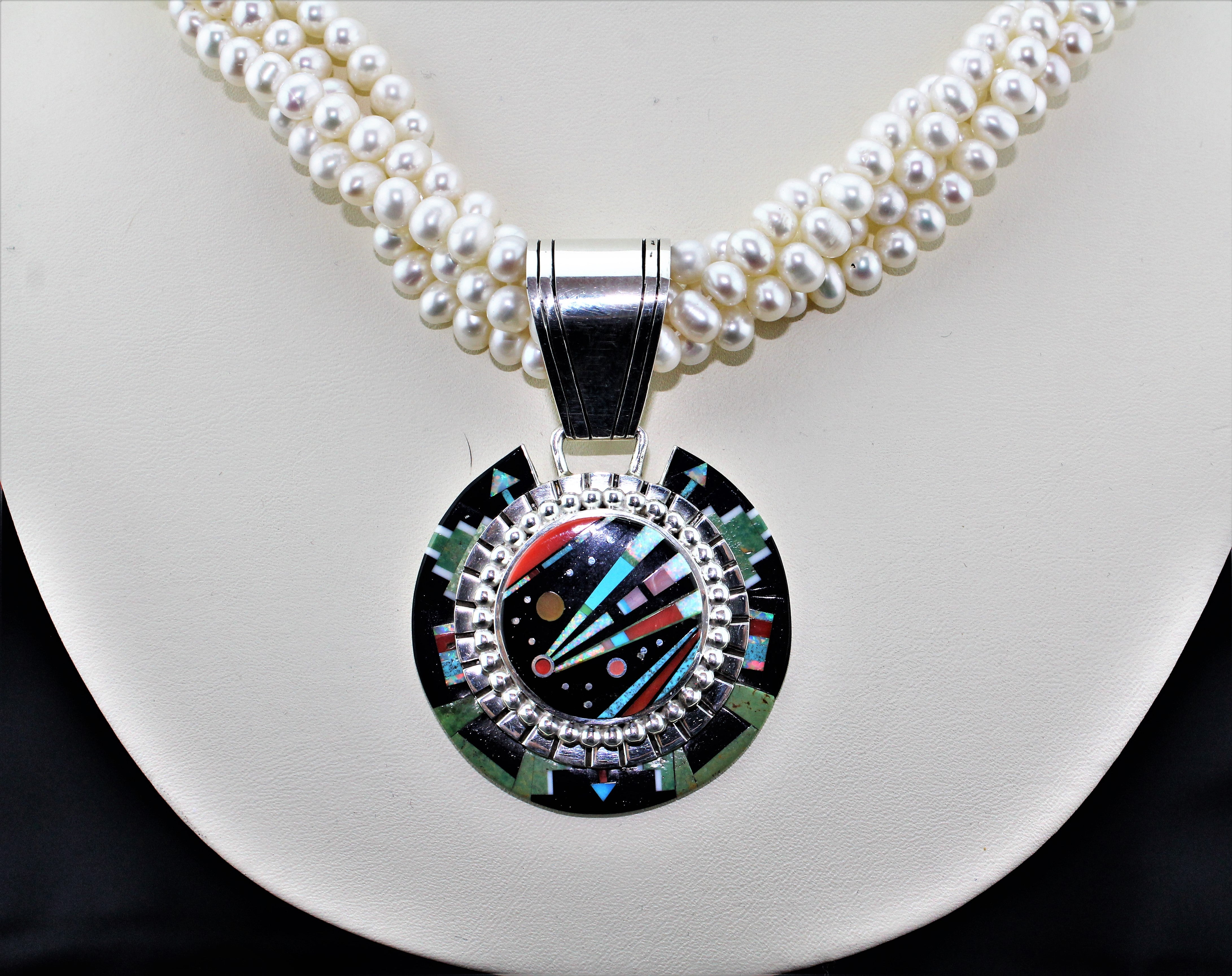 Contemporary Navajo Multi-Stone Micro Inlay Medallion Necklace