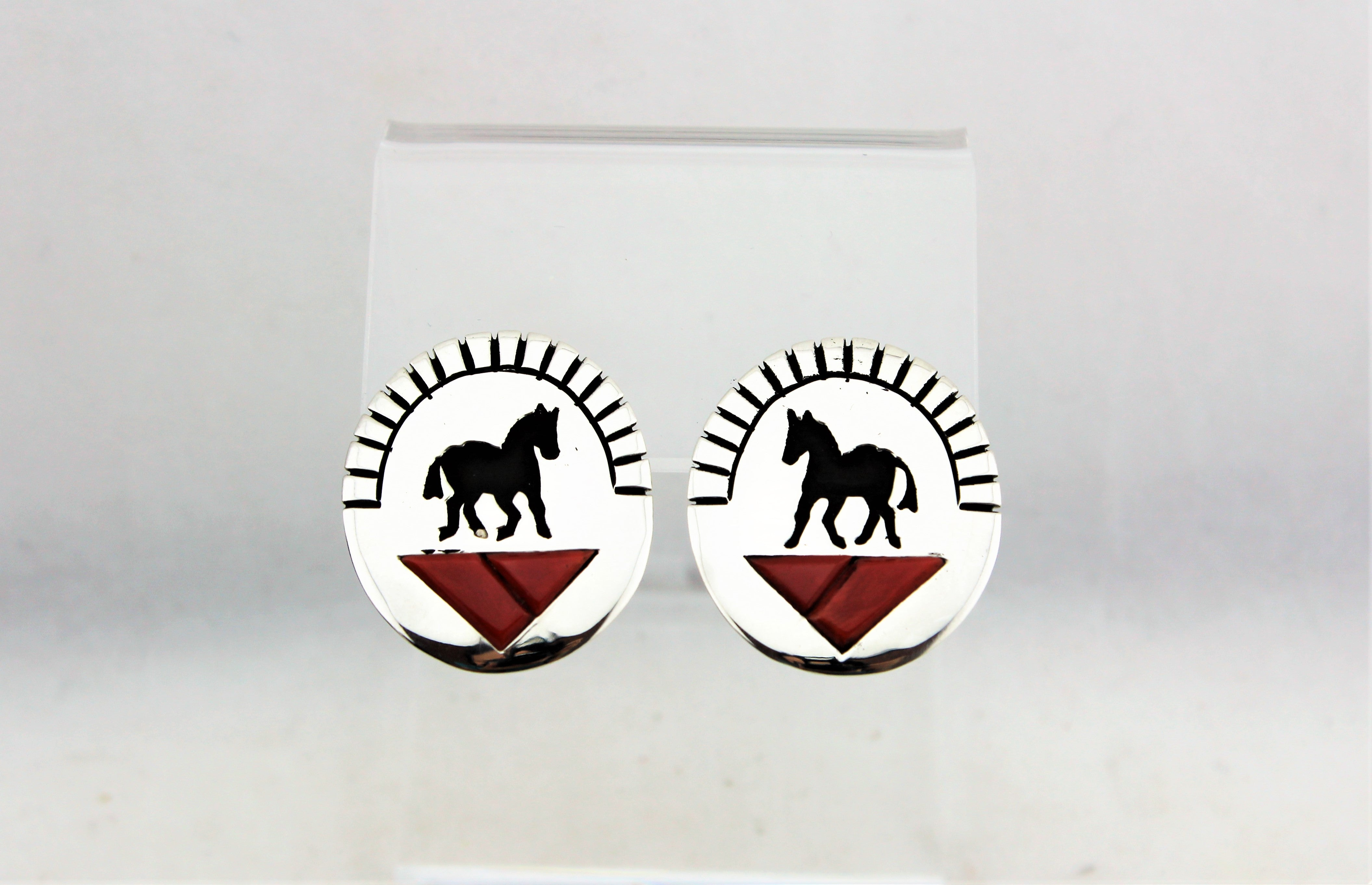 Sterling Silver Horse Overlay Earrings