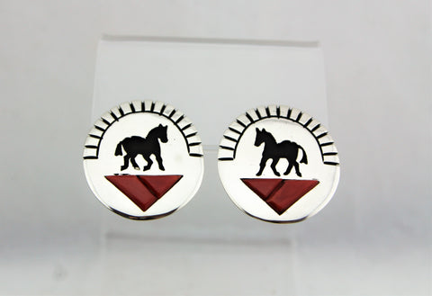 Sterling Silver Horse Overlay Coral Inlay Earrings