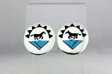Sterling Silver Horse Overlay Turquoise Earrings