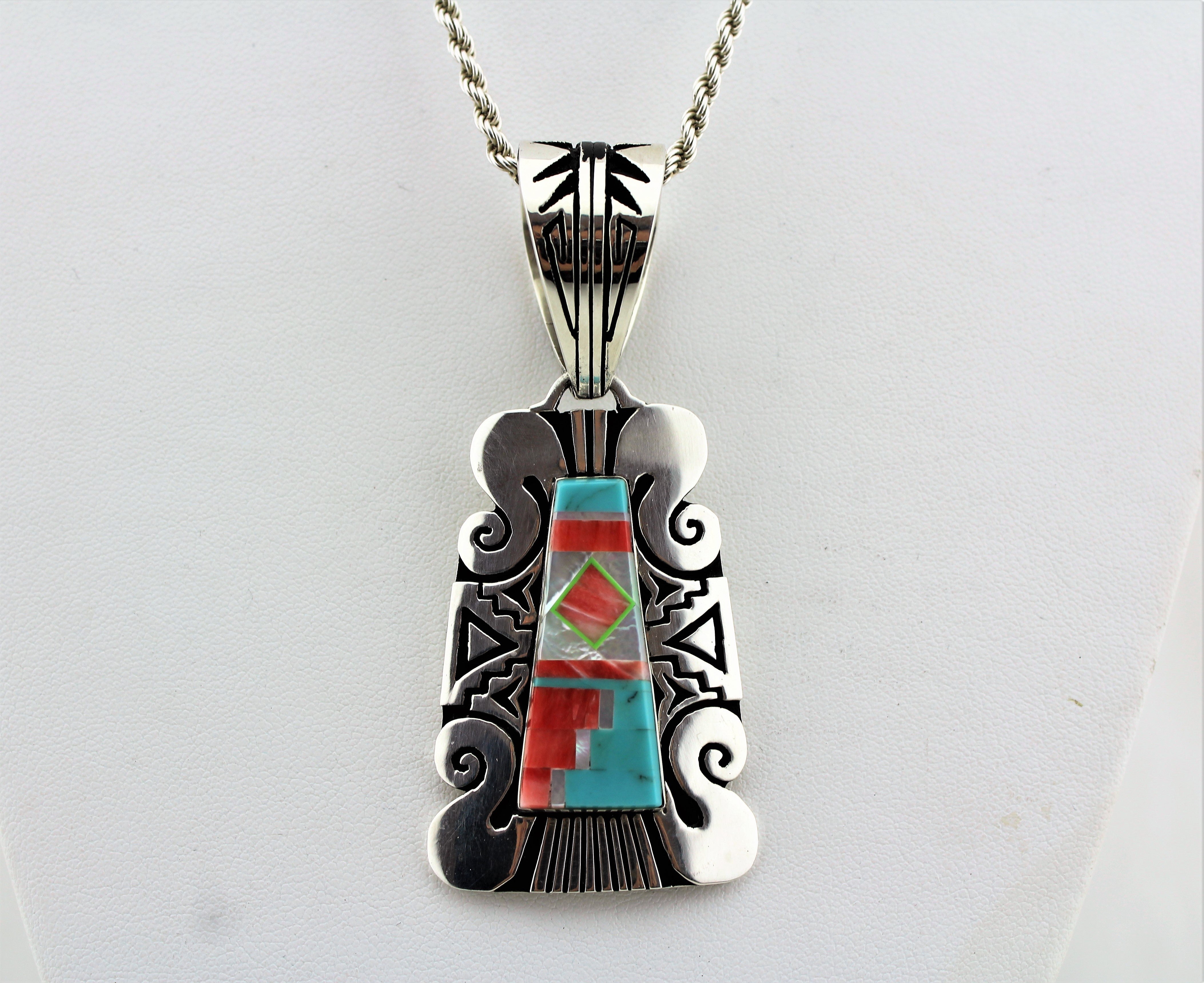 Sterling Silver Multistone Inlay Necklace