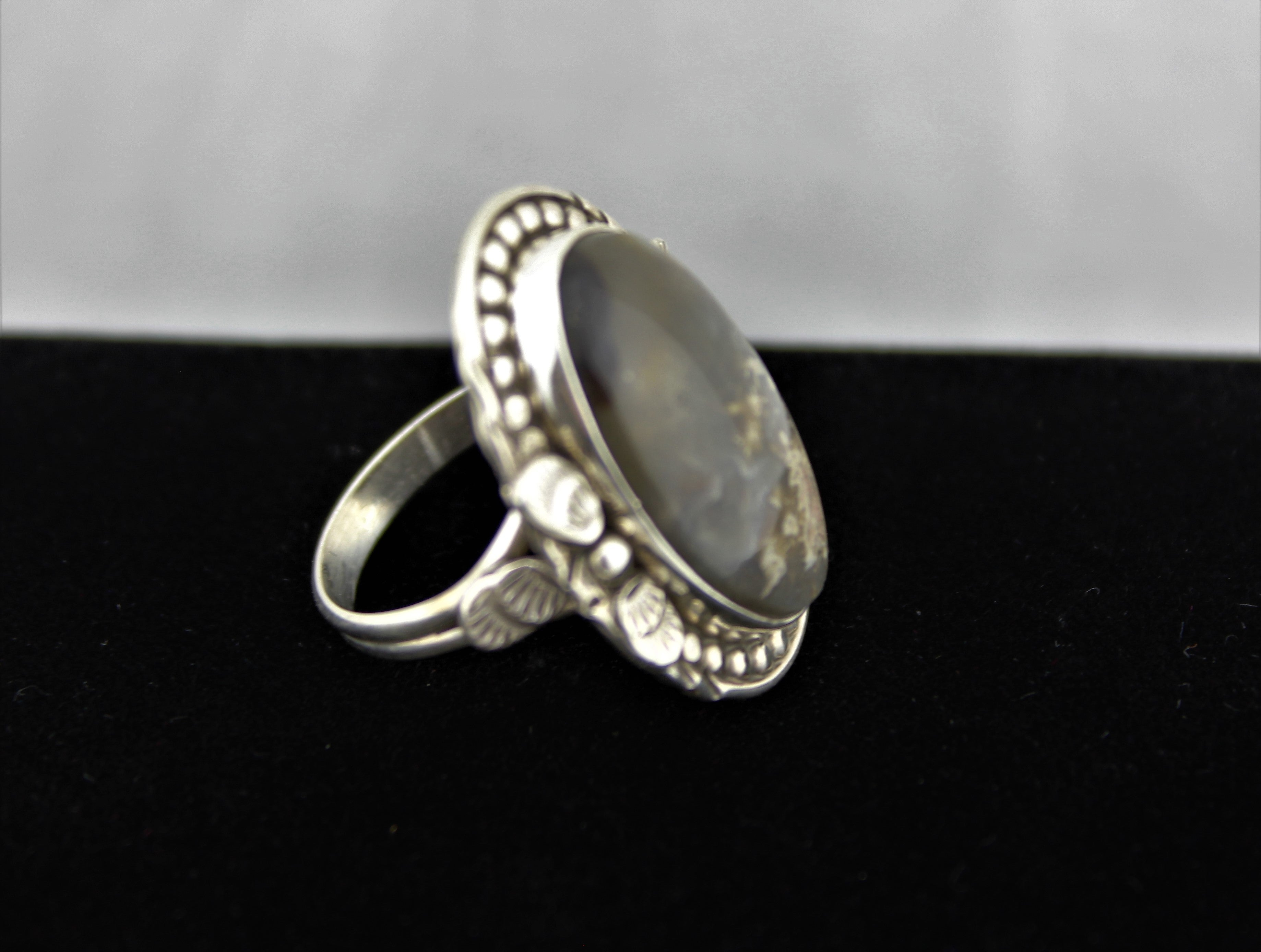 Native American Sterling Silver Lace Agate Ring