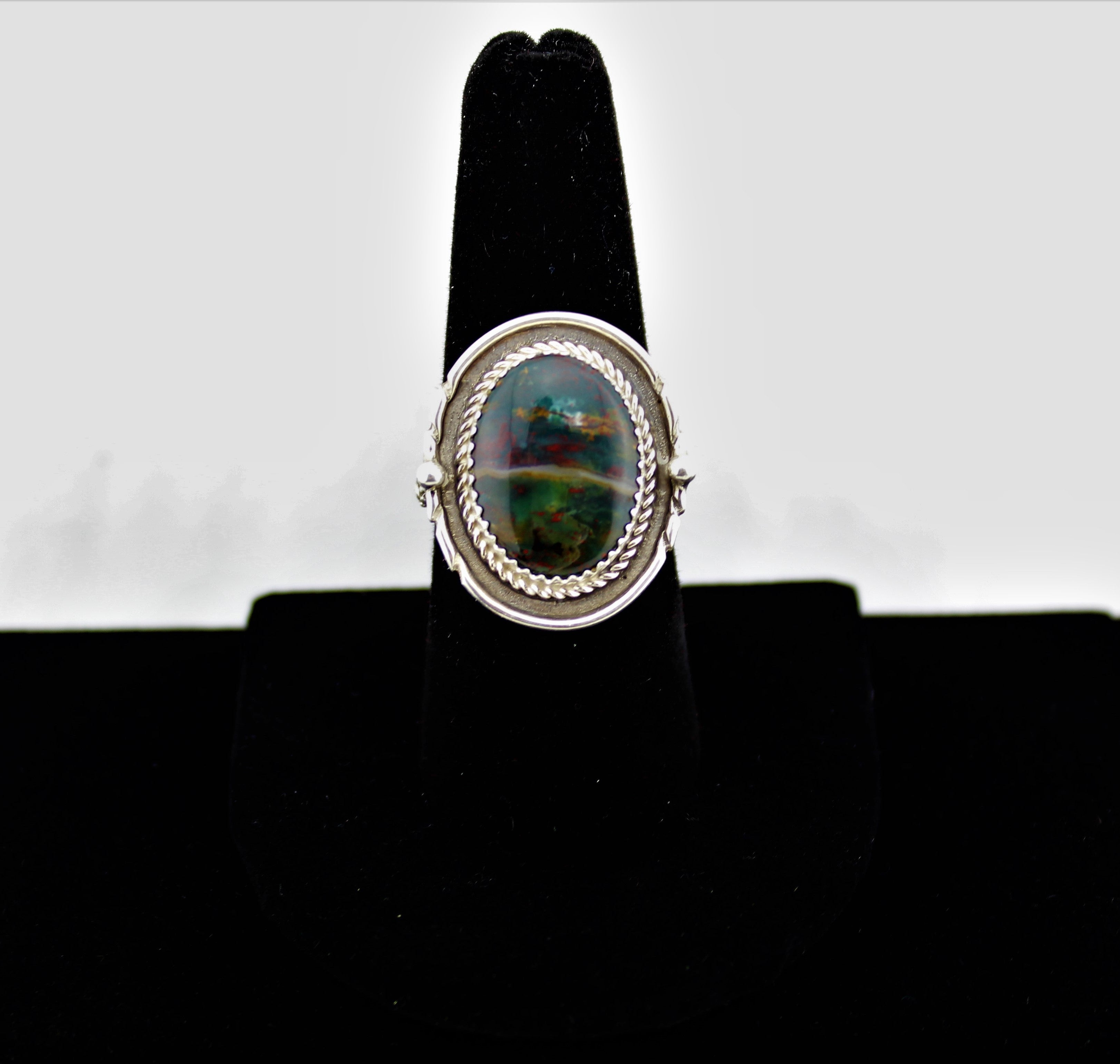 Native American Sterling Silver Bloodstone Ring